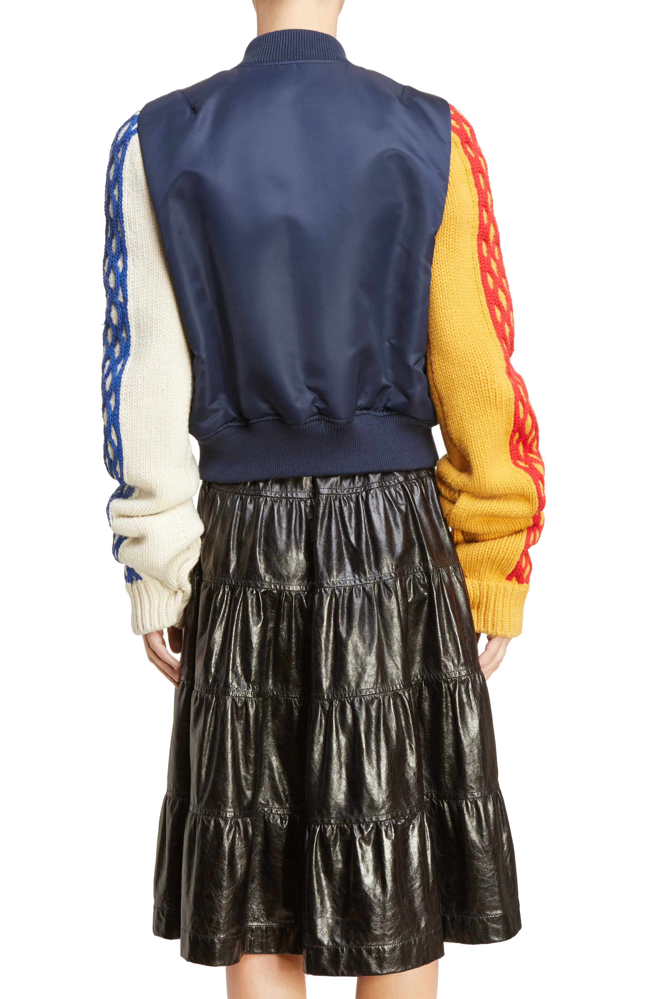 J.W.ANDERSON Cable Sleeve Bomber Jacket,                             Alternate thumbnail 2, color,                             400