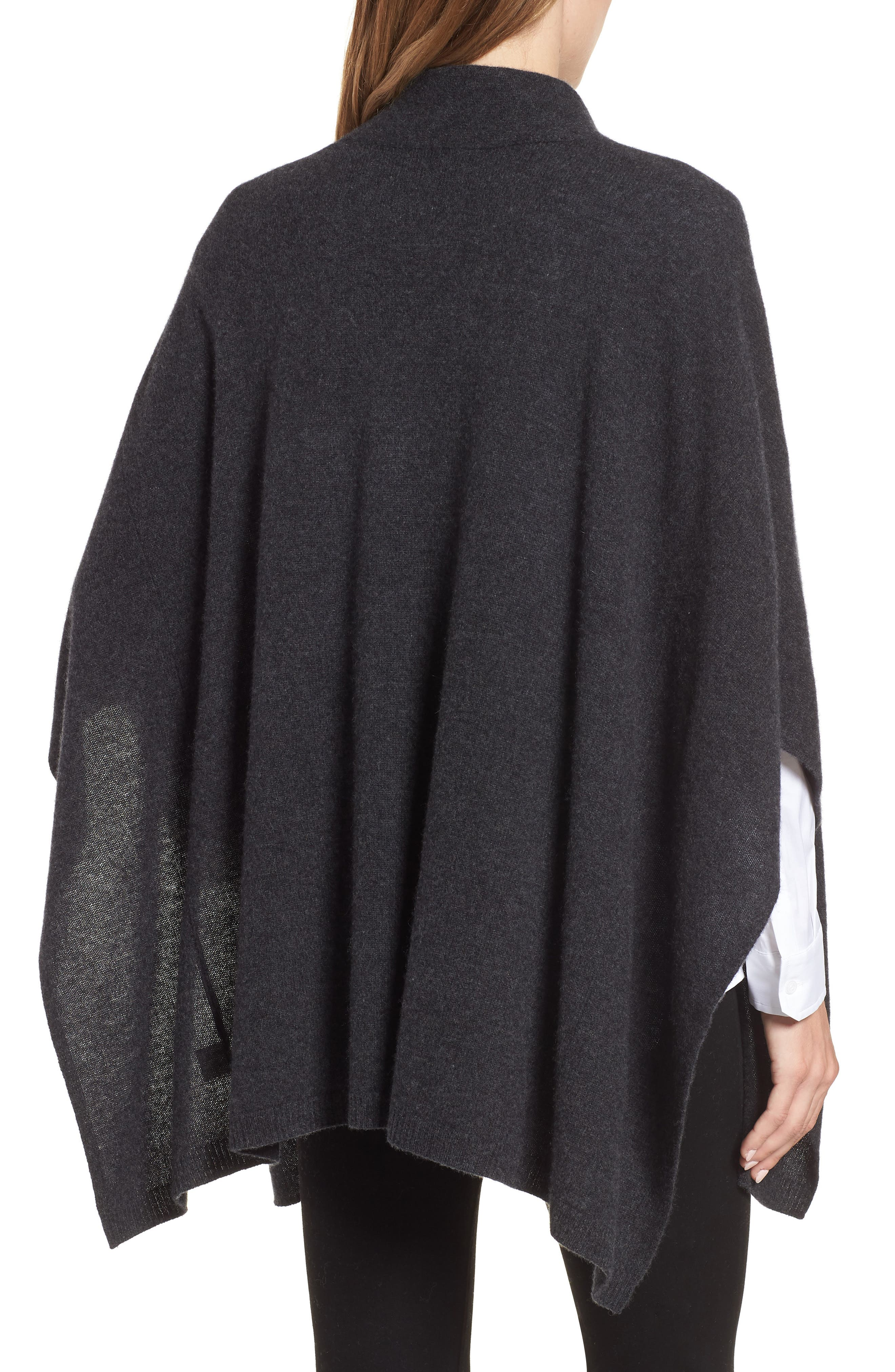 Halogen Cashmere Poncho,                             Alternate thumbnail 2, color,                             GREY CHARCOAL HEATHER