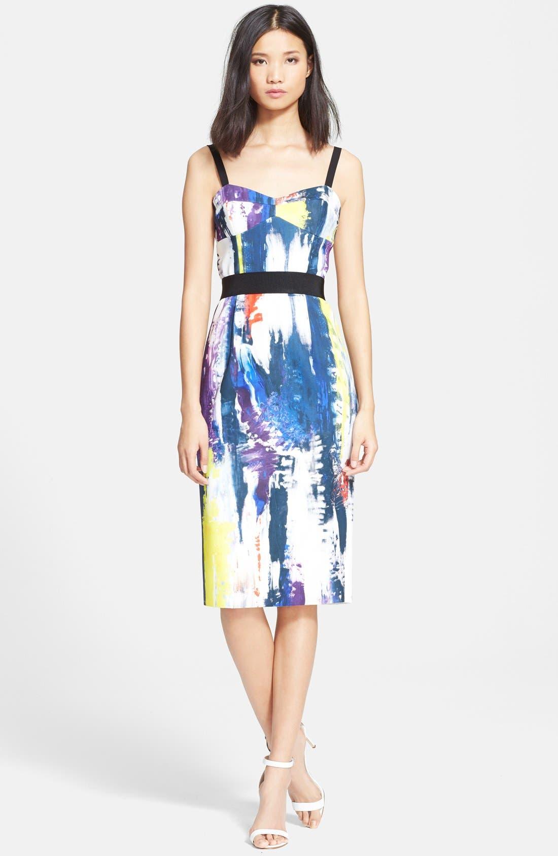 Graffiti Print Bustier Dress, Main, color, 464
