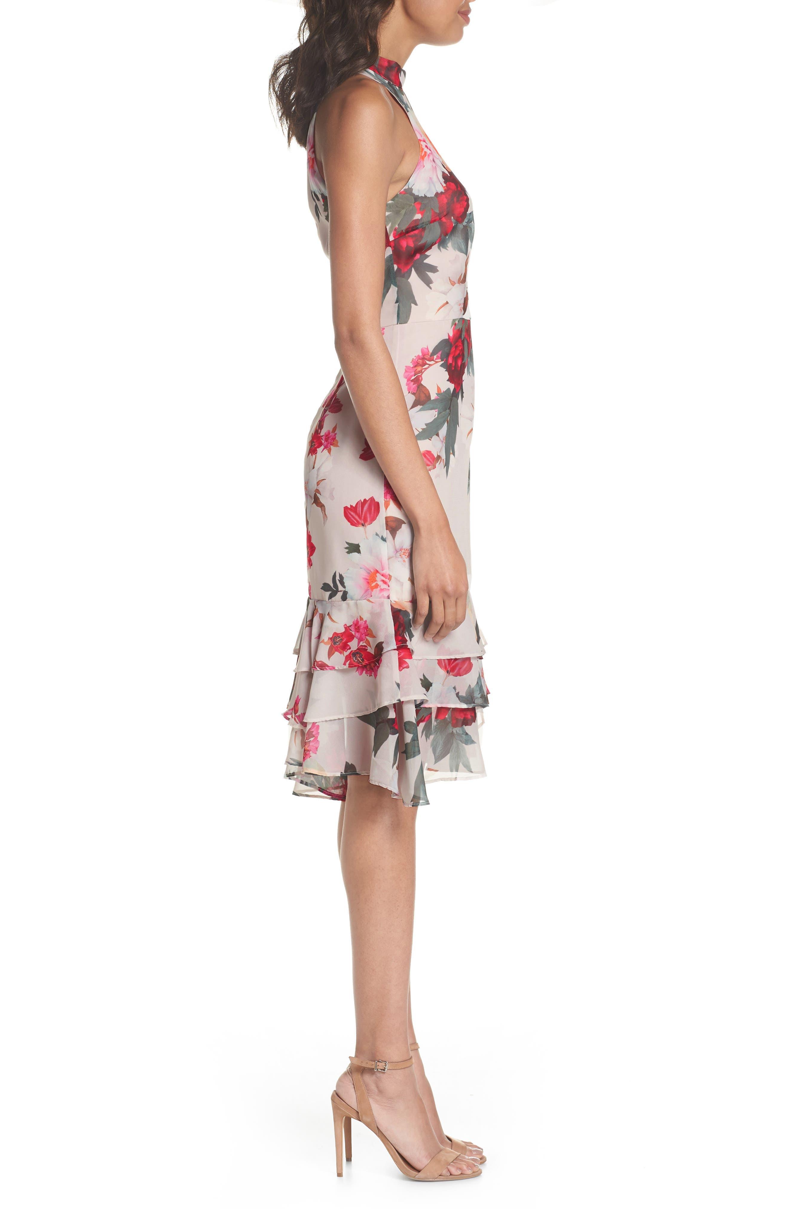 Rosa High Neck Ruffle Hem Dress,                             Alternate thumbnail 3, color,                             266