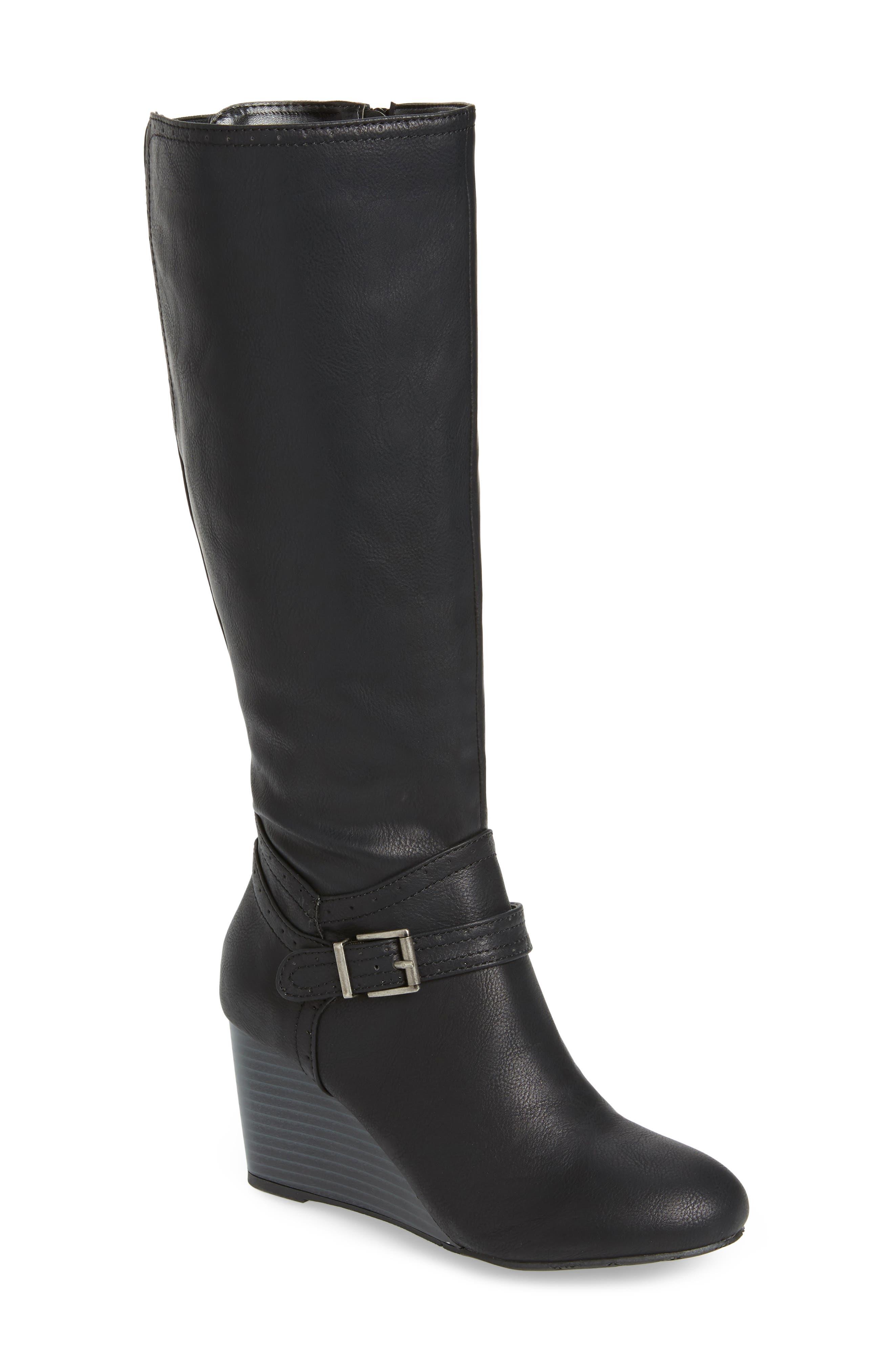 Claretta Knee High Wedge Boot,                             Main thumbnail 1, color,                             BLACK VEGAN LEATHER