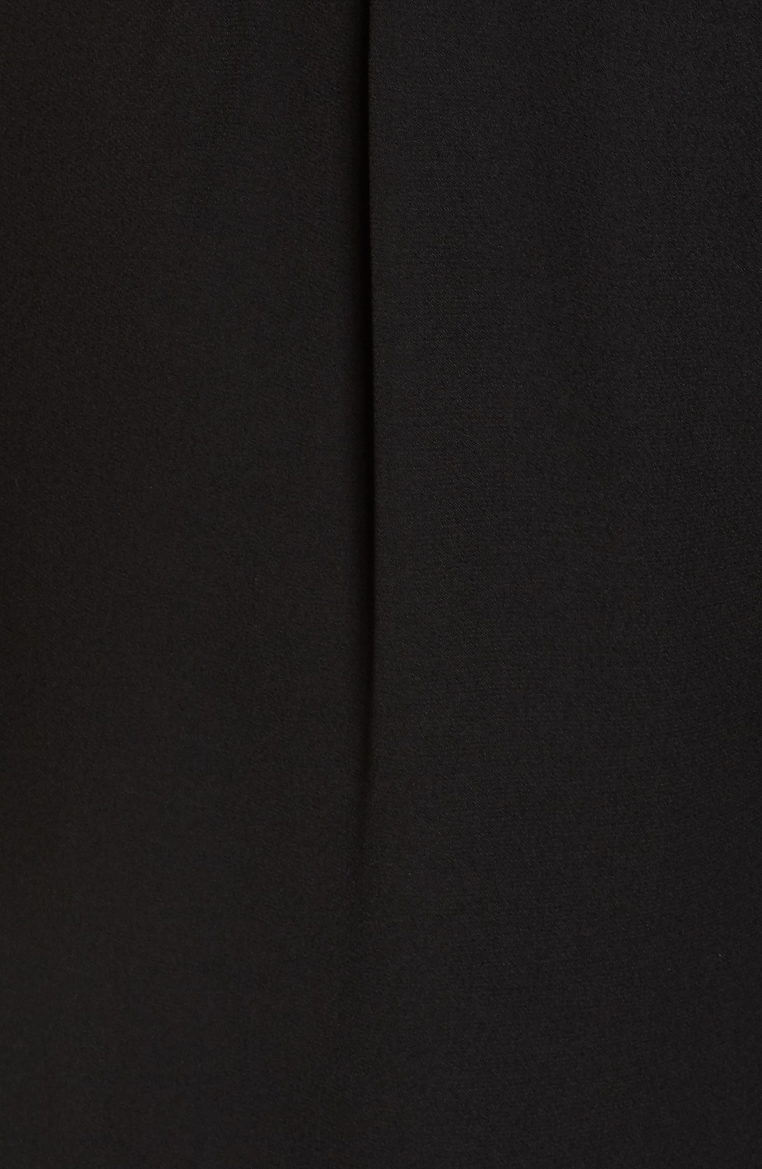 Surplice Ruched Sleeve Wide Leg Jumpsuit,                             Alternate thumbnail 6, color,                             BLACK