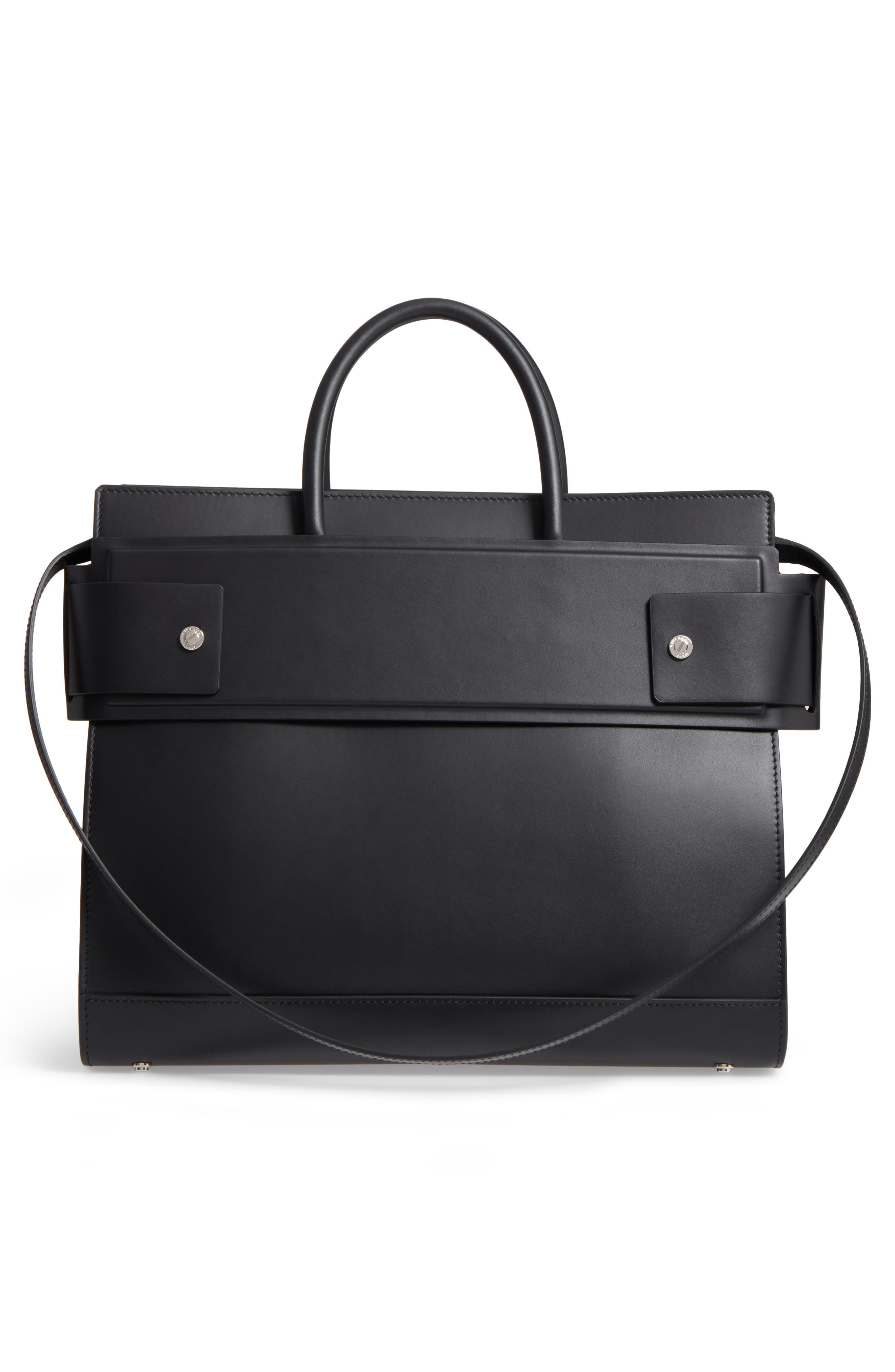 Horizon Calfskin Leather Tote,                             Alternate thumbnail 3, color,                             BLACK