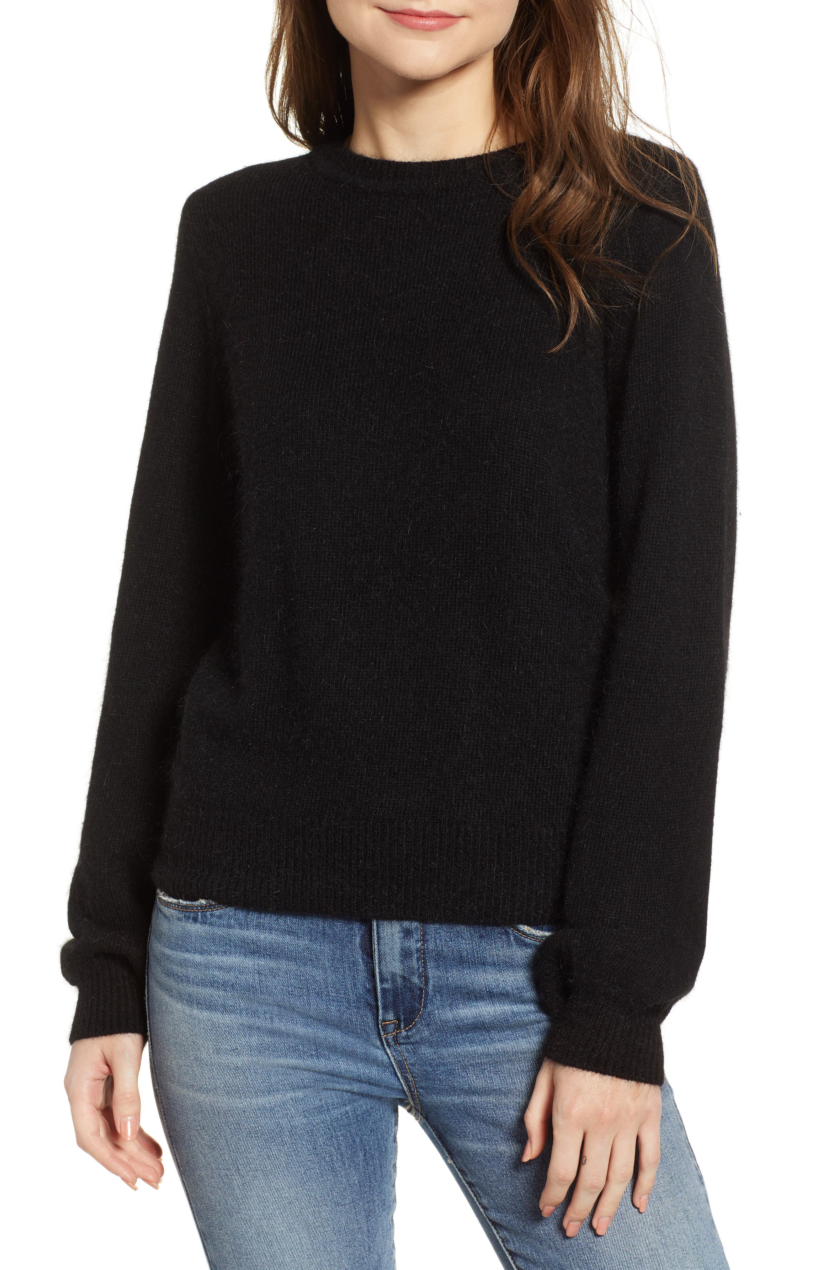 Blouson Sleeve Sweater, Main, color, BLACK