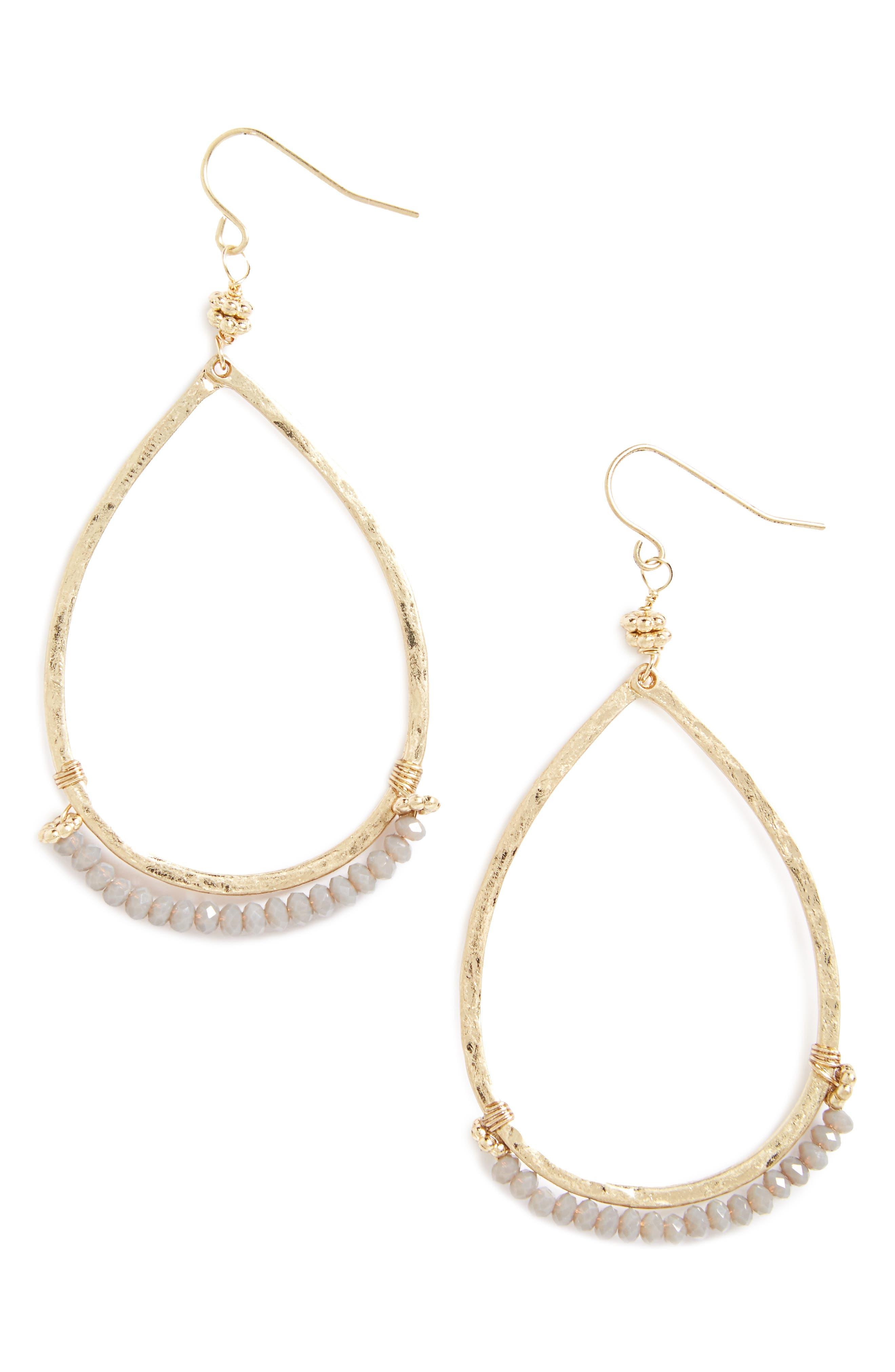 Beaded Teardrop Earrings,                         Main,                         color, 710