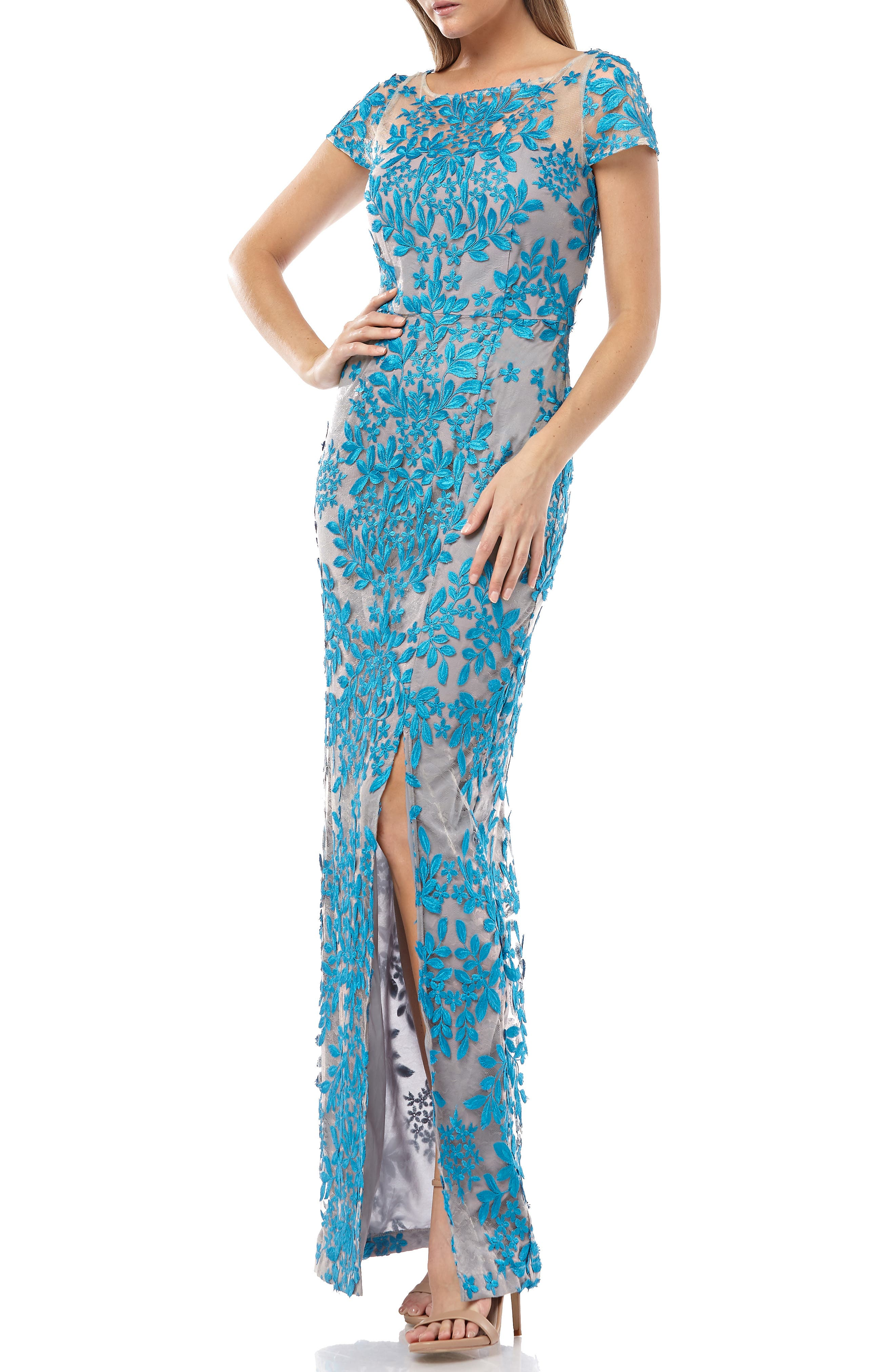 Js Collections Leaf Embroidered Evening Dress, Blue