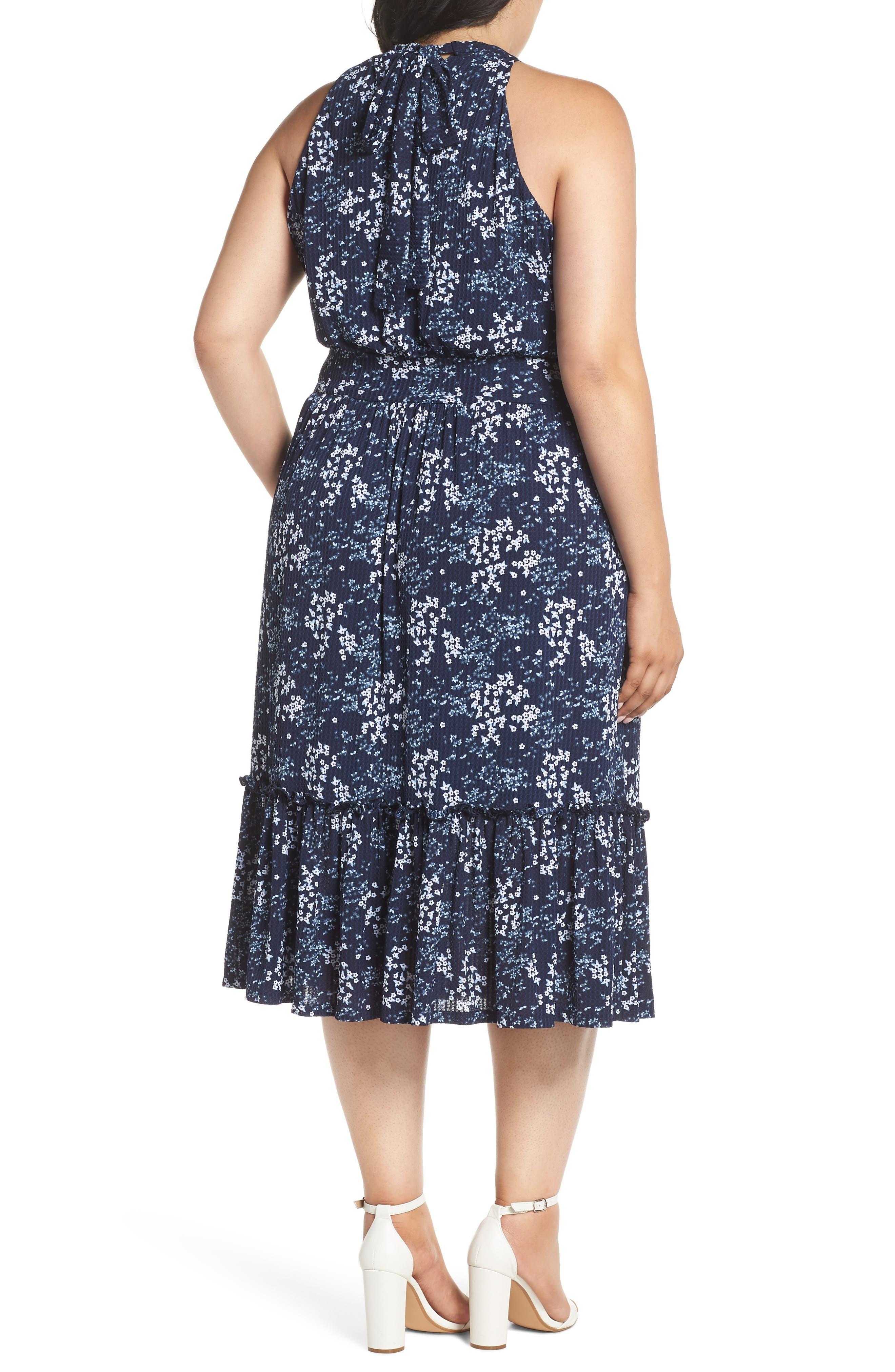 Floral Tiered Midi Halter Dress,                             Alternate thumbnail 2, color,                             454