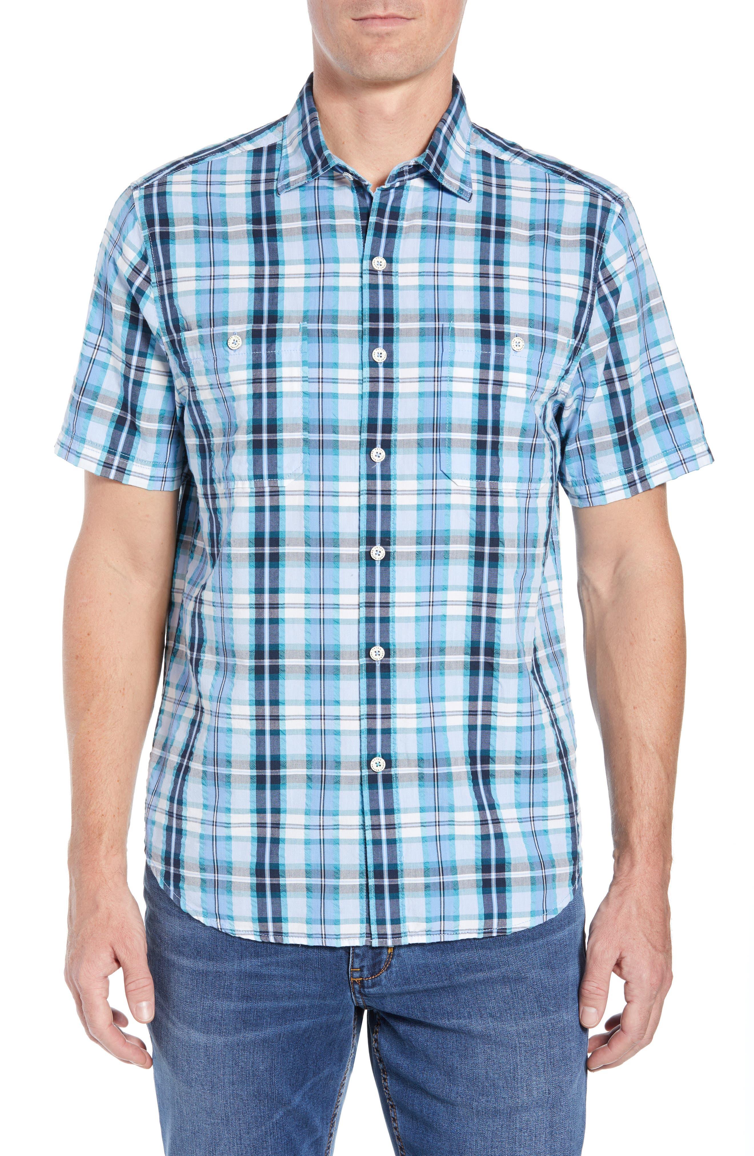 Papagayo Plaid Sport Shirt,                         Main,                         color, RIVIERA AZURE