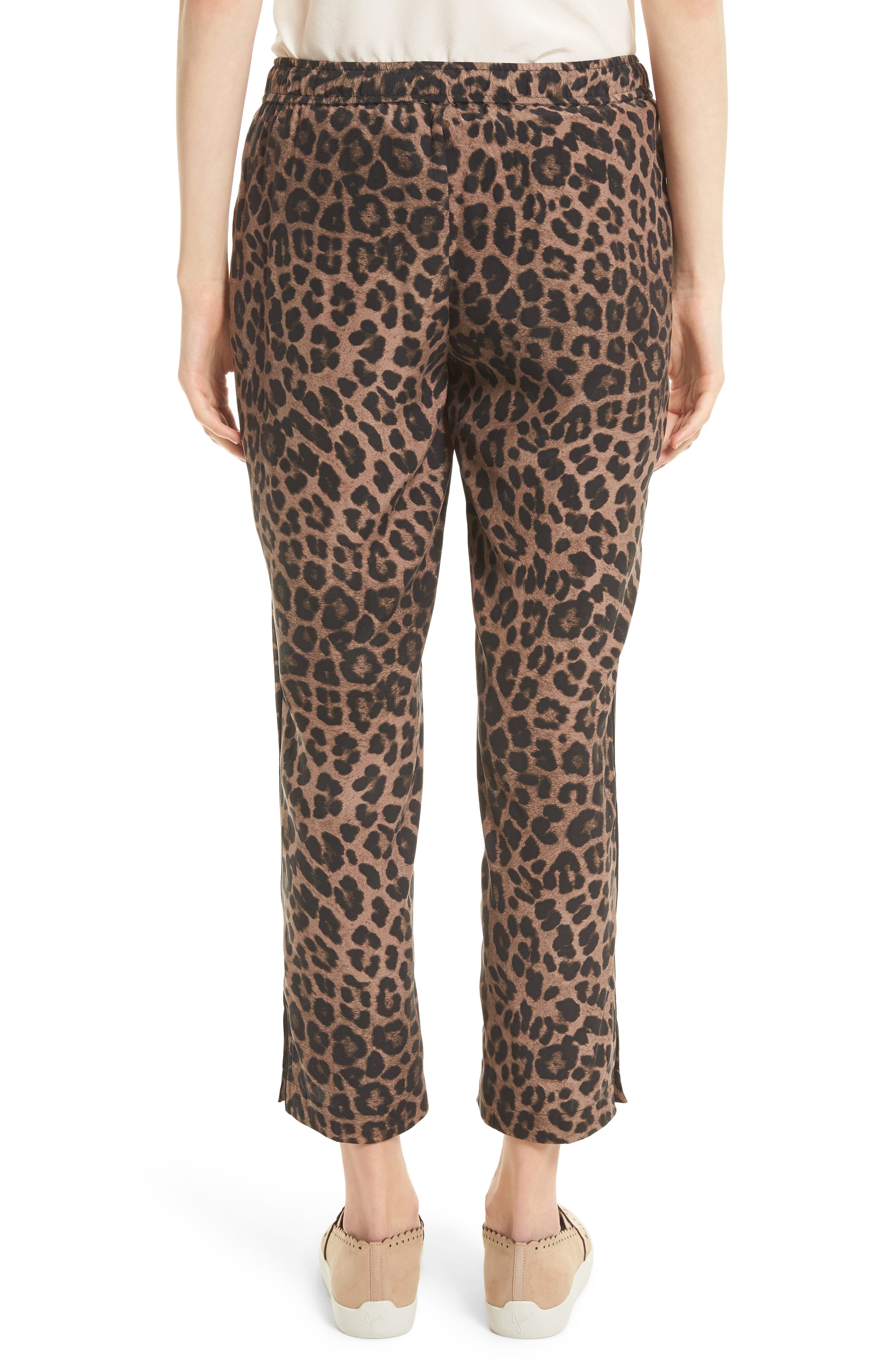 Ayanna B Leopard Print Silk Crop Pants,                             Alternate thumbnail 2, color,                             005