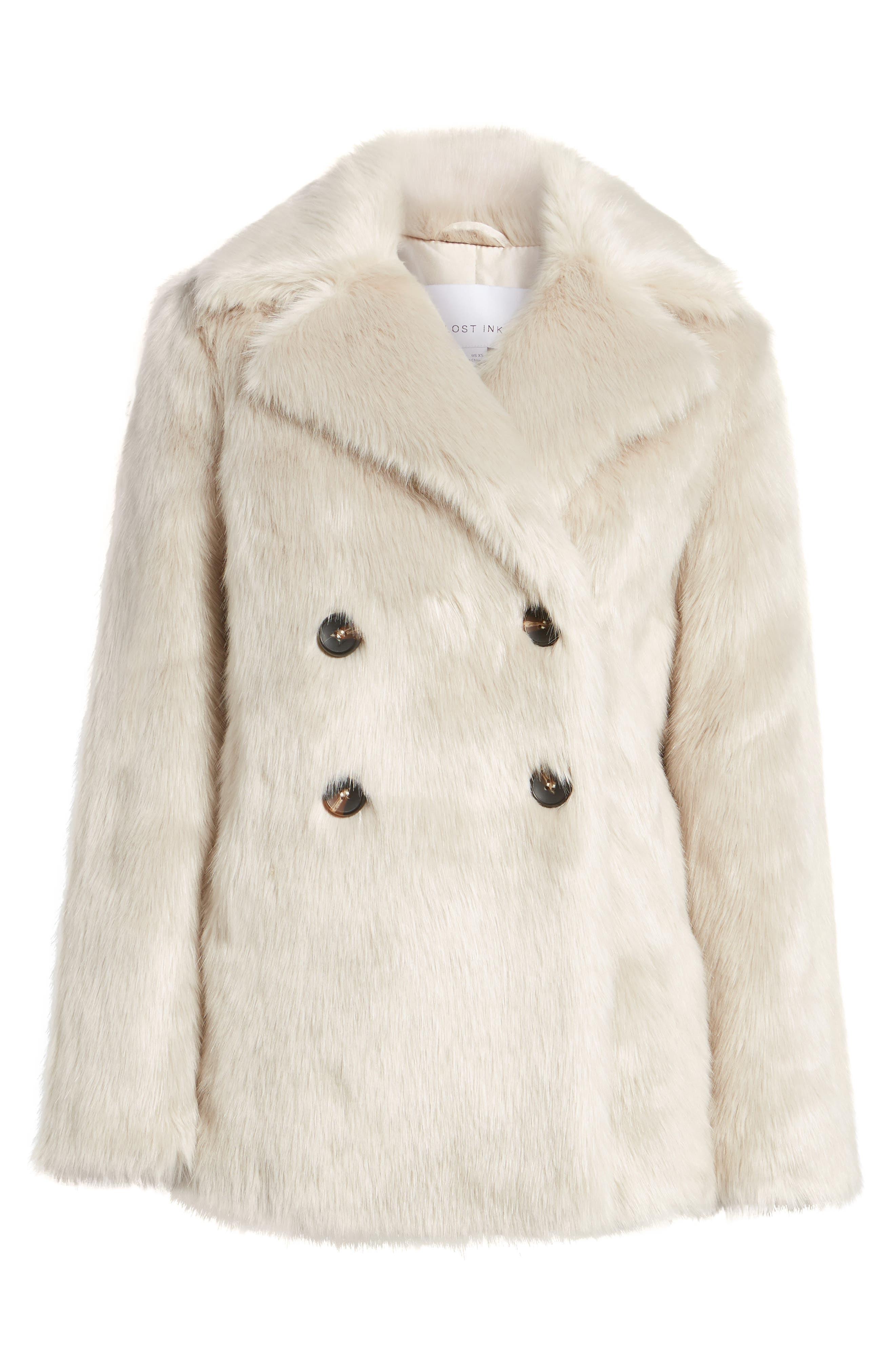 Faux Fur Coat,                             Alternate thumbnail 5, color,                             900