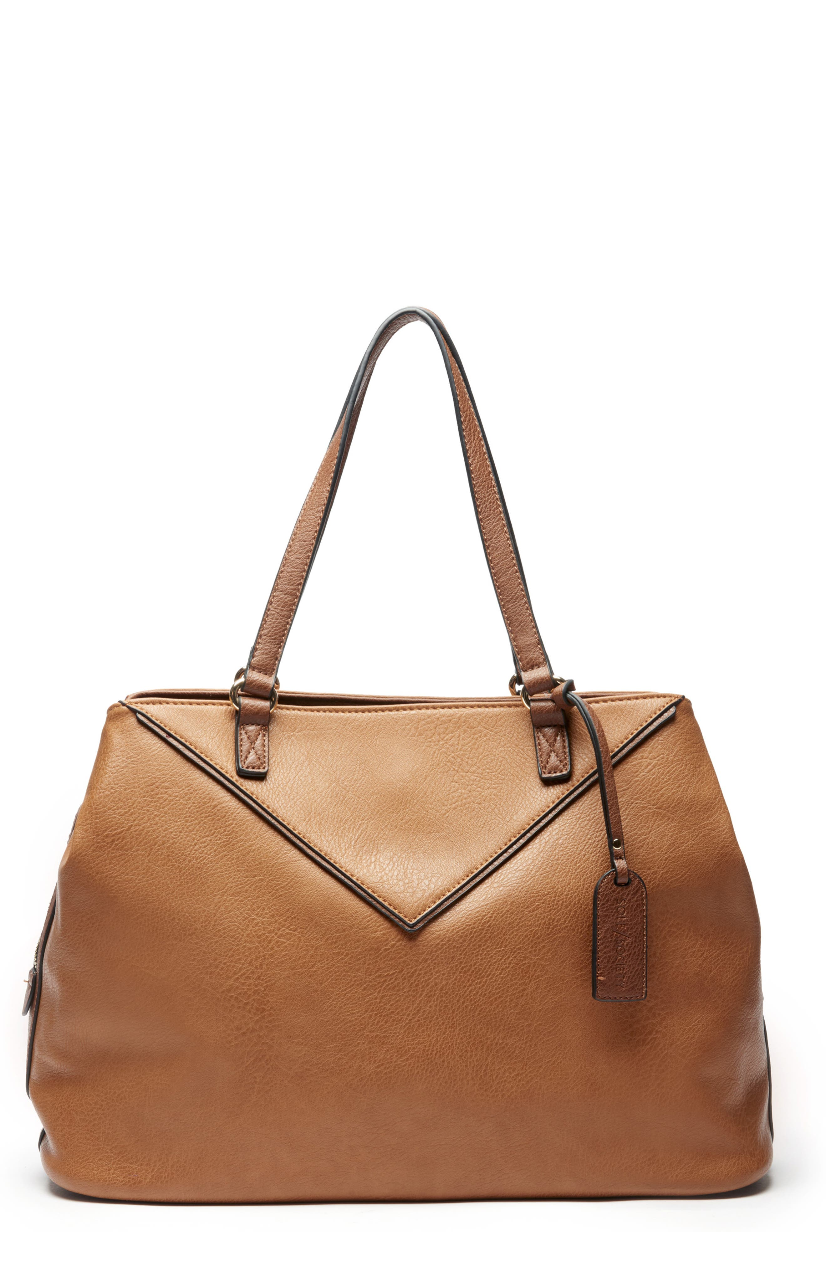 Ginny Faux Leather Tote,                         Main,                         color, BROWN COMBO