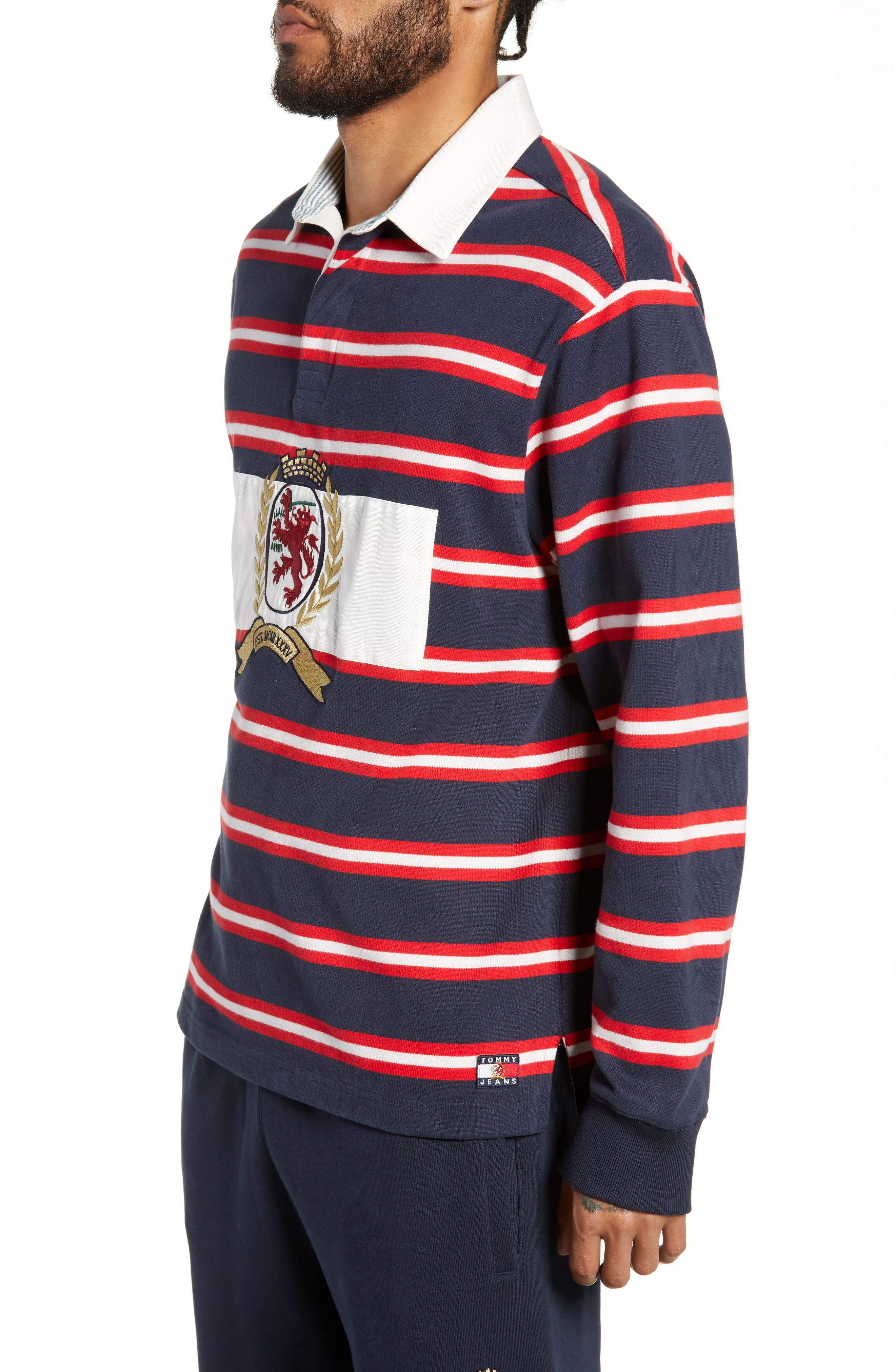 Crest Stripe Rugby Polo,                             Alternate thumbnail 3, color,                             DARK SAPPHIRE / MULTI