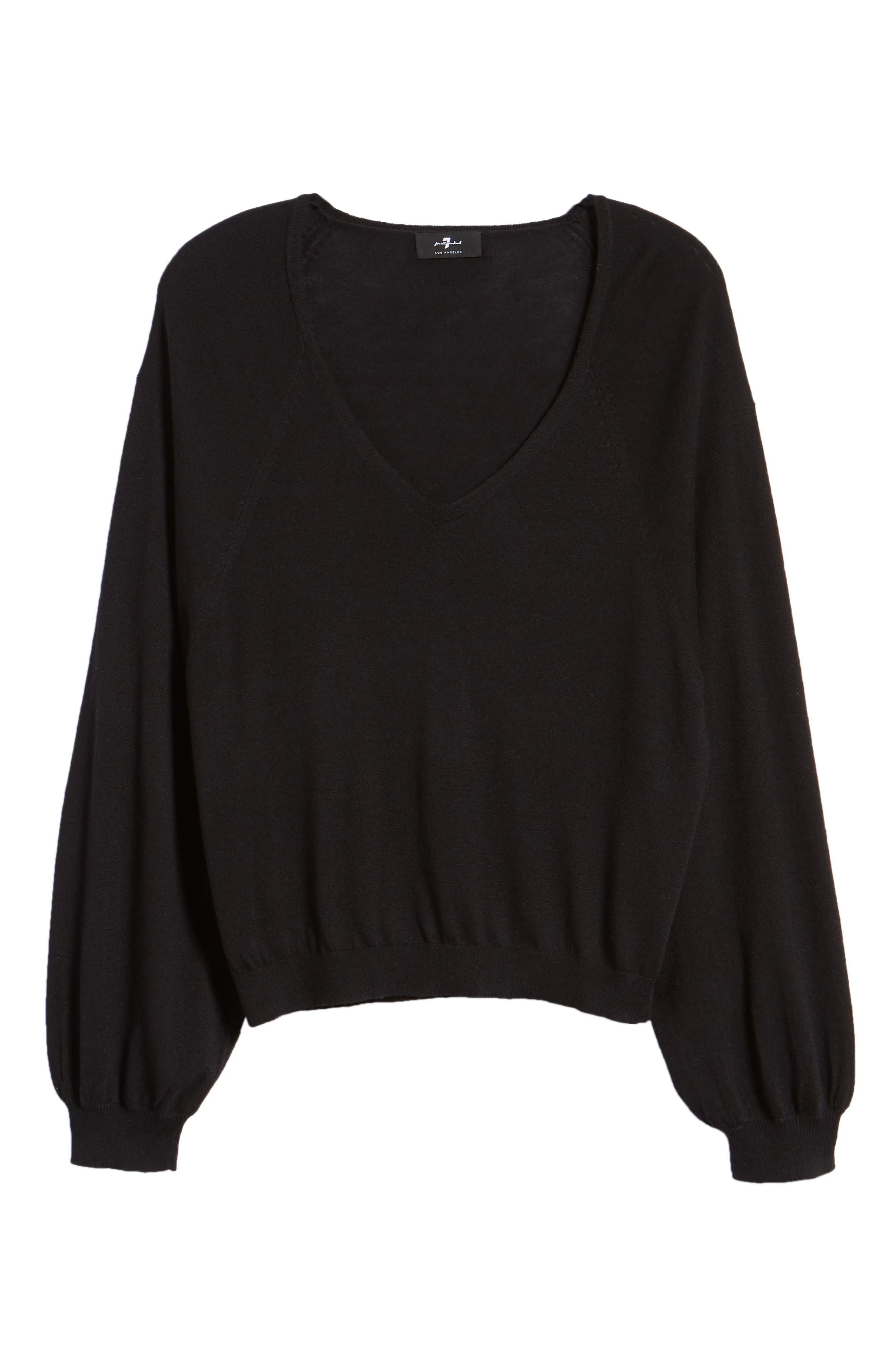 V-Neck Sweater,                             Alternate thumbnail 6, color,                             BLACK