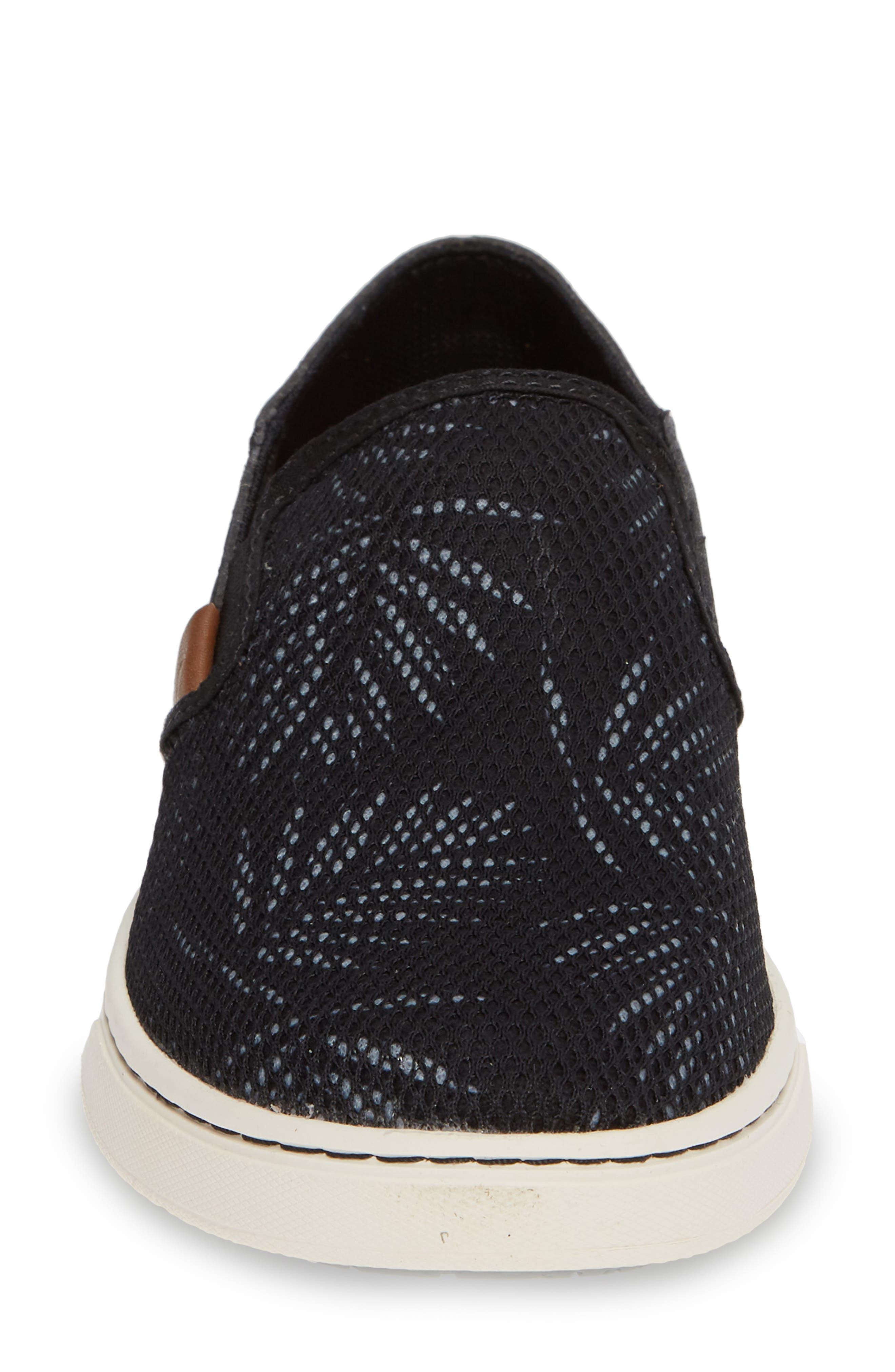 'Pehuea' Slip-On Sneaker,                             Alternate thumbnail 4, color,                             BLACK/ PALM FABRIC