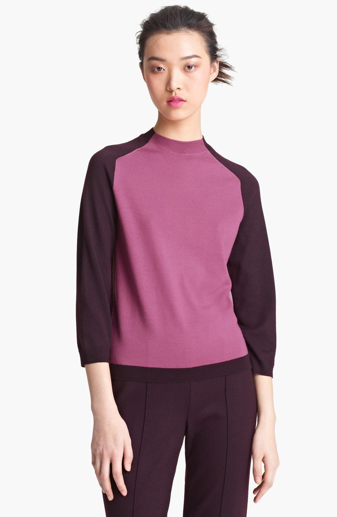 Contrast Mock Neck Sweater,                             Main thumbnail 1, color,                             505