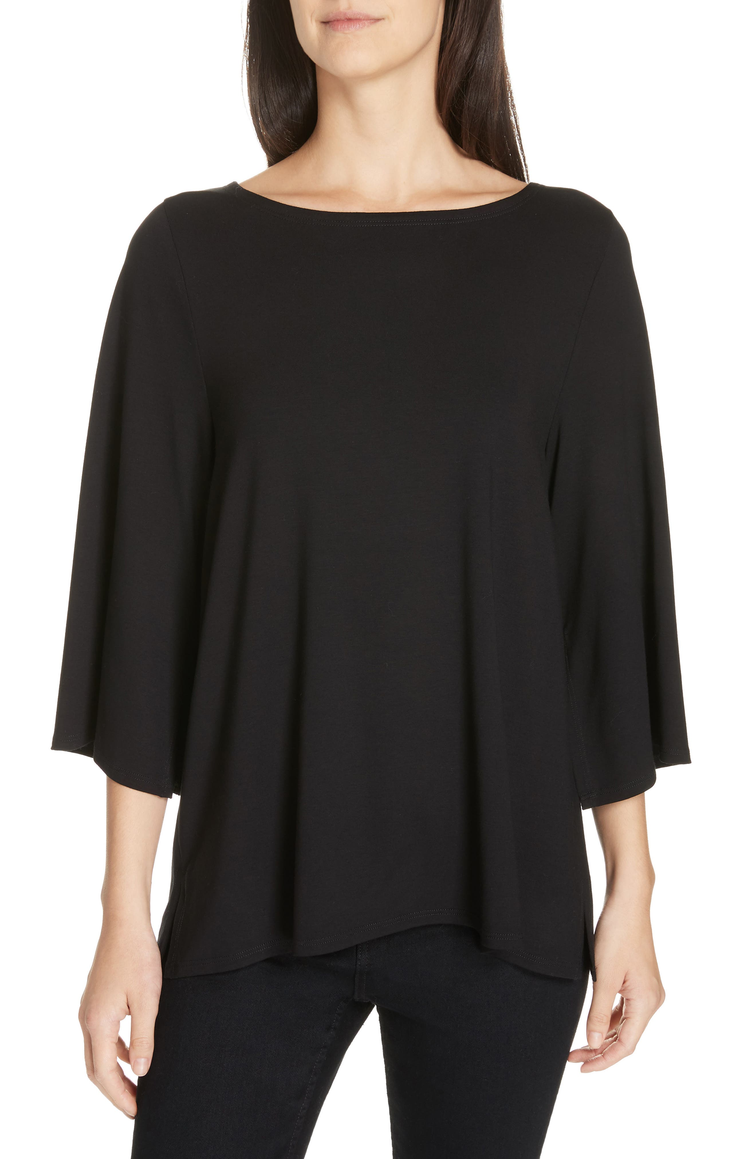 Bell Sleeve Jersey Top,                         Main,                         color, BLACK