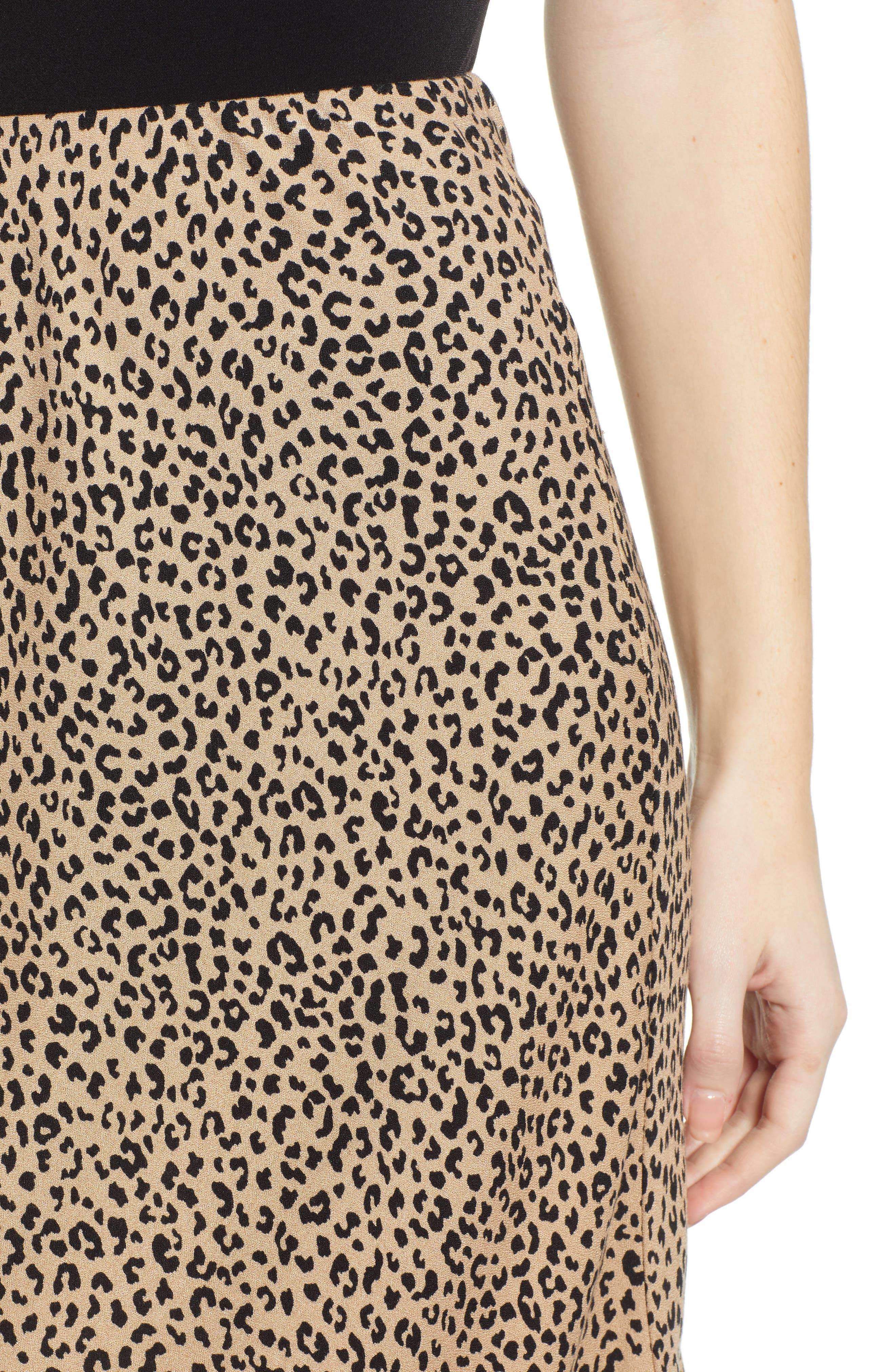 LOVE, FIRE,                             Leopard Midi Skirt,                             Alternate thumbnail 4, color,                             LEOPARD