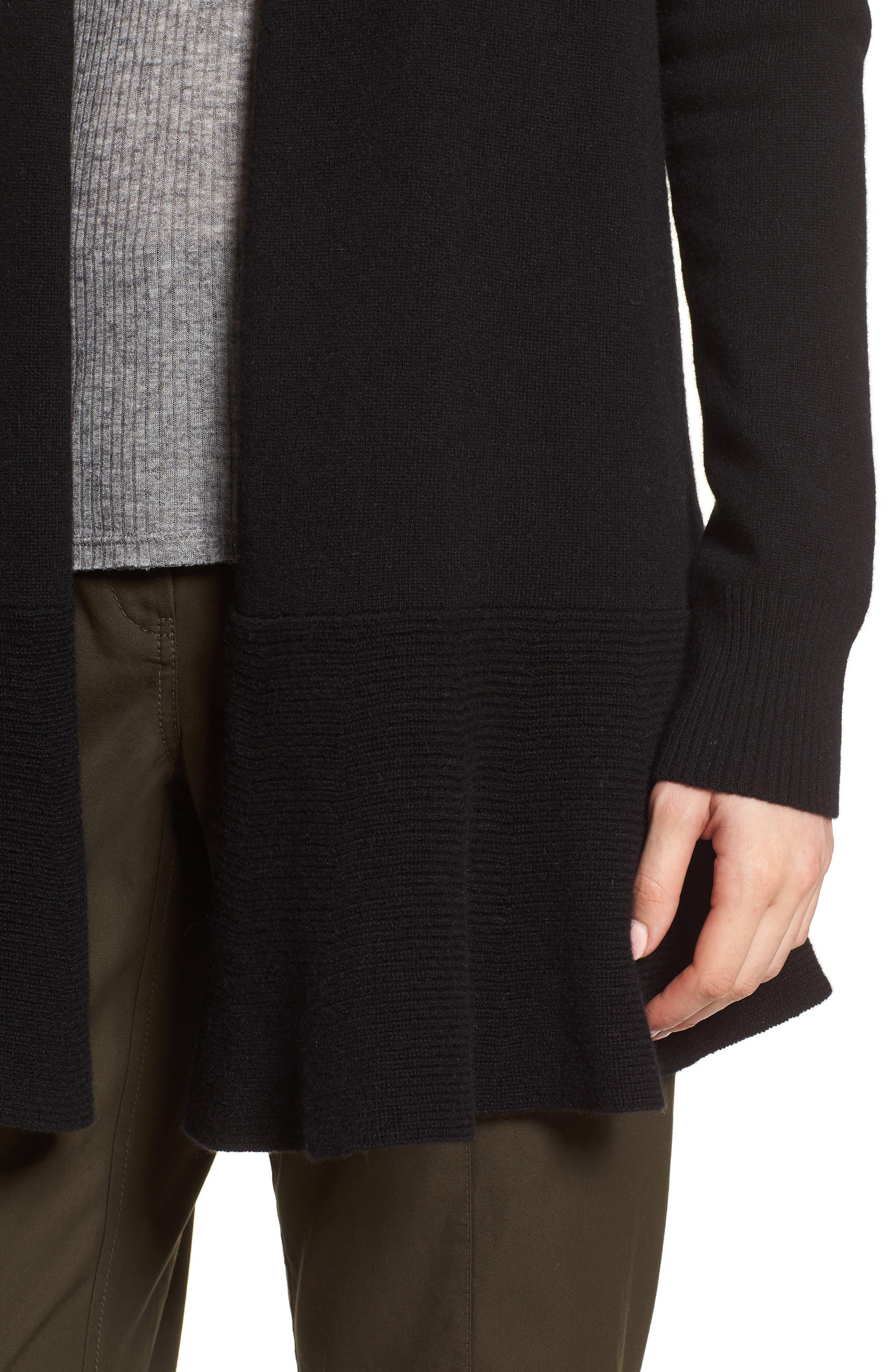 Cashmere Ruffle Hem Open Cardigan,                             Alternate thumbnail 4, color,                             BLACK
