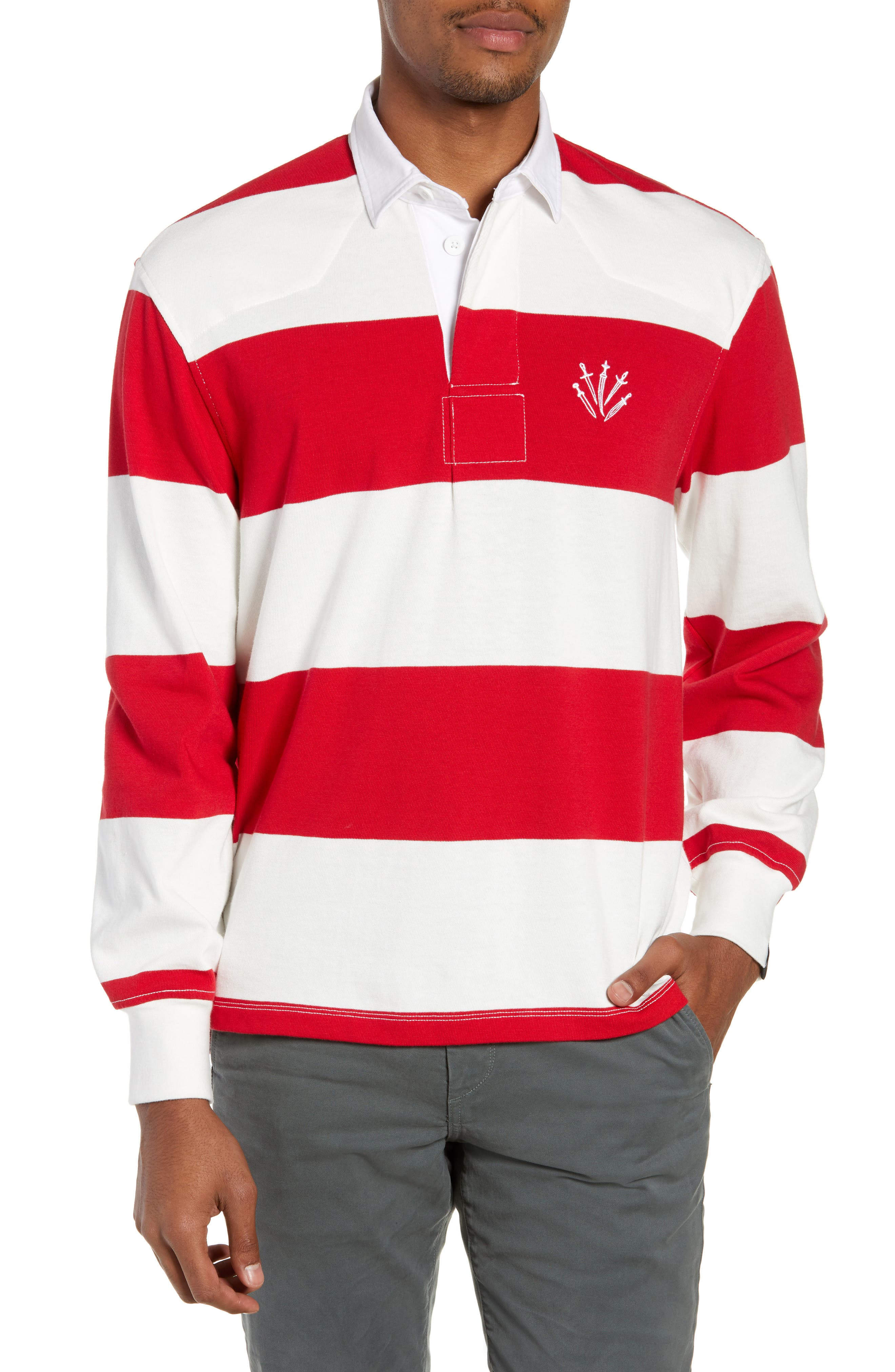 Regular Fit Rugby Shirt,                             Main thumbnail 1, color,                             RED/ IVORY