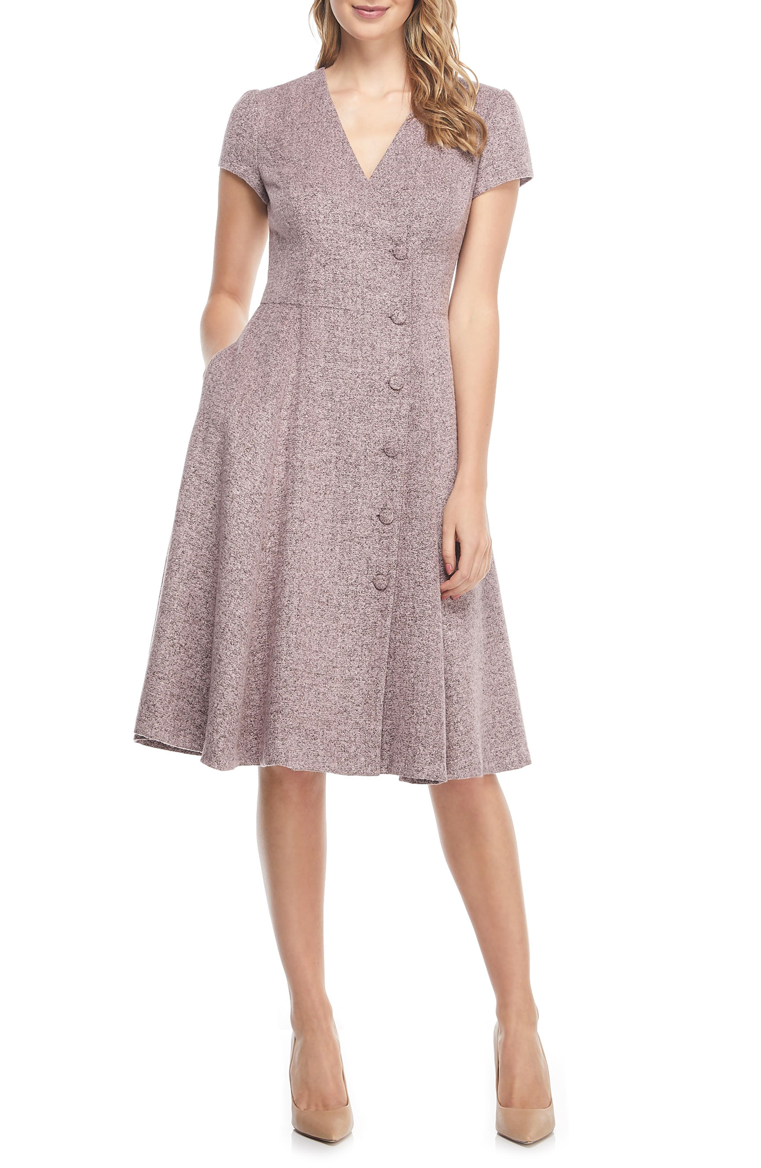 Agatha Dainty Tweed Dress,                             Alternate thumbnail 4, color,                             650