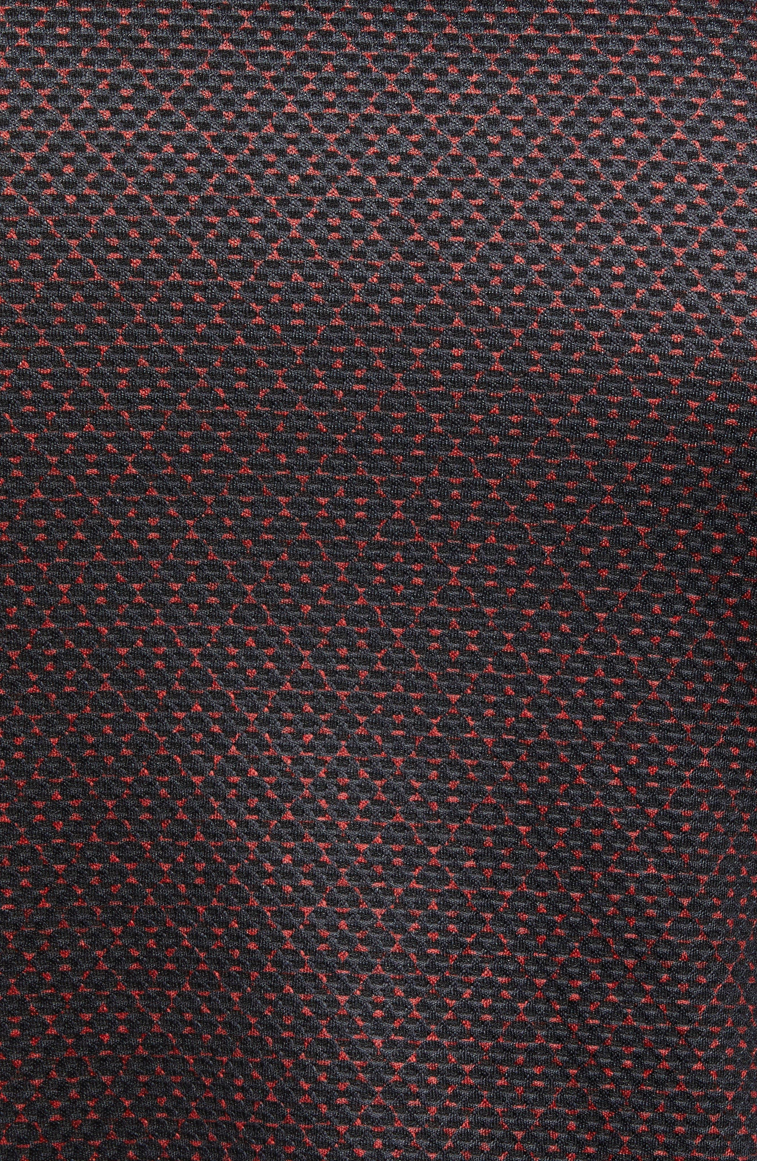 Slim Fit Quarter Zip Mesh Polo,                             Alternate thumbnail 5, color,                             HENNA PRINT