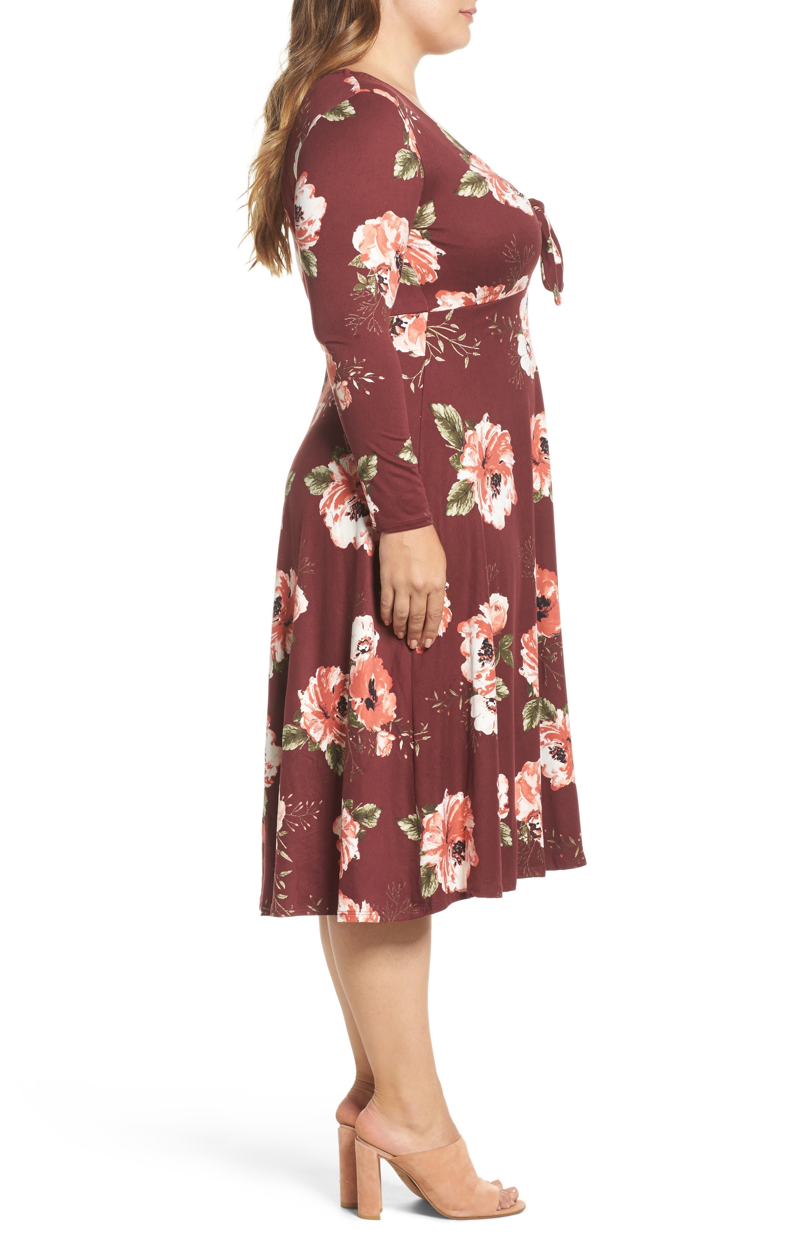 Plunging Floral Midi Dress,                             Alternate thumbnail 6, color,