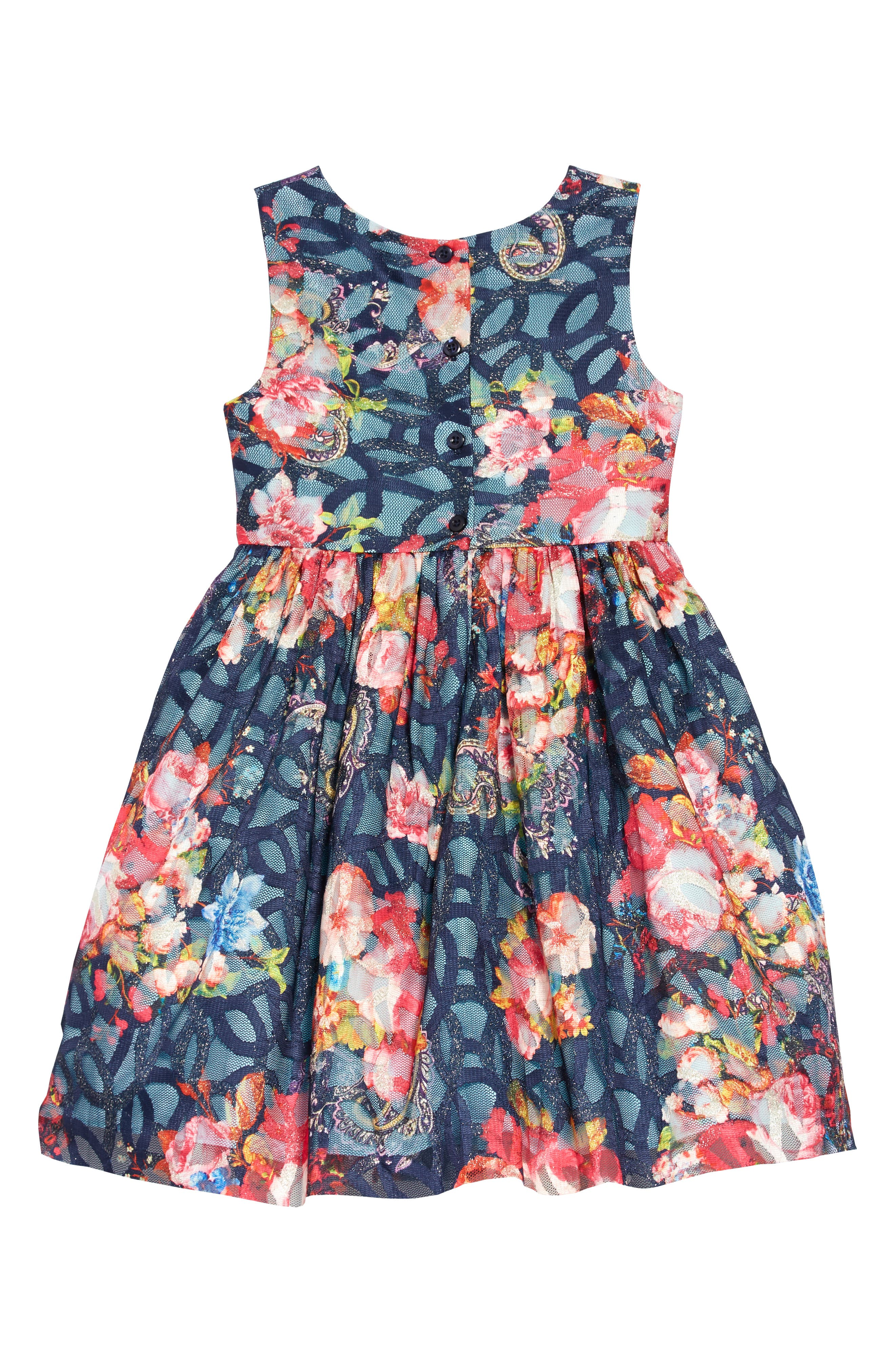 Floral Mesh Burnout Dress,                             Alternate thumbnail 2, color,                             400