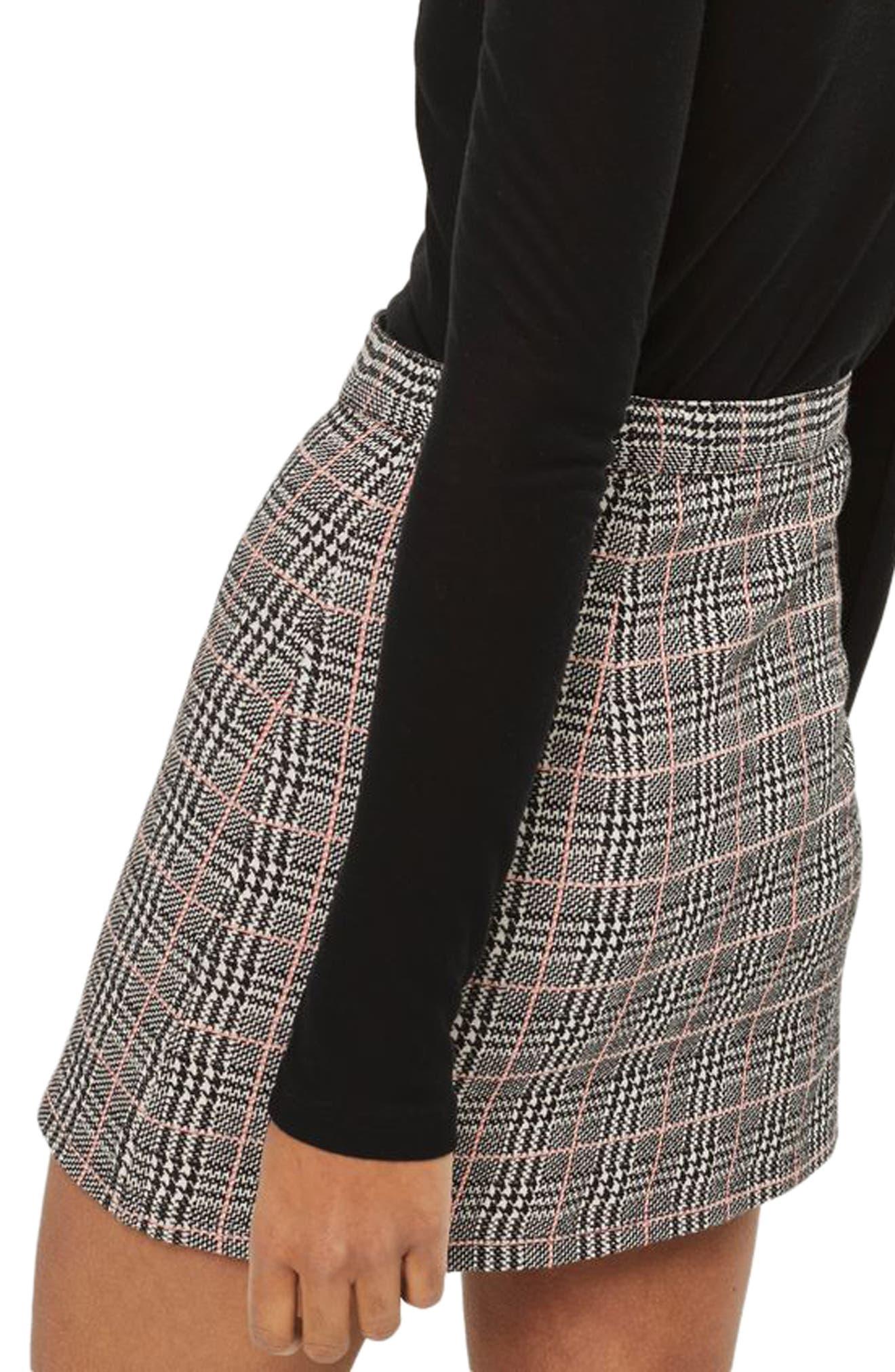 Zip Check Mini Skirt,                             Alternate thumbnail 2, color,                             020