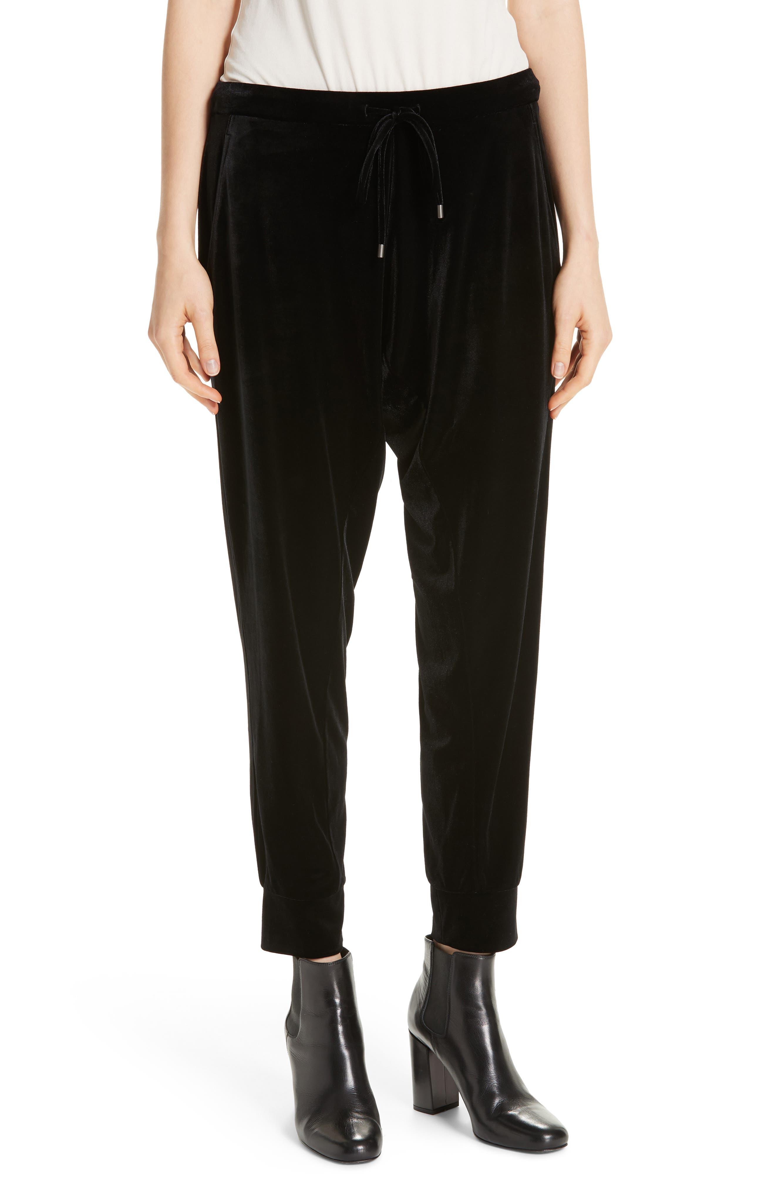 High Rise Crop Velvet Jogger Pants,                             Main thumbnail 1, color,                             BLACK