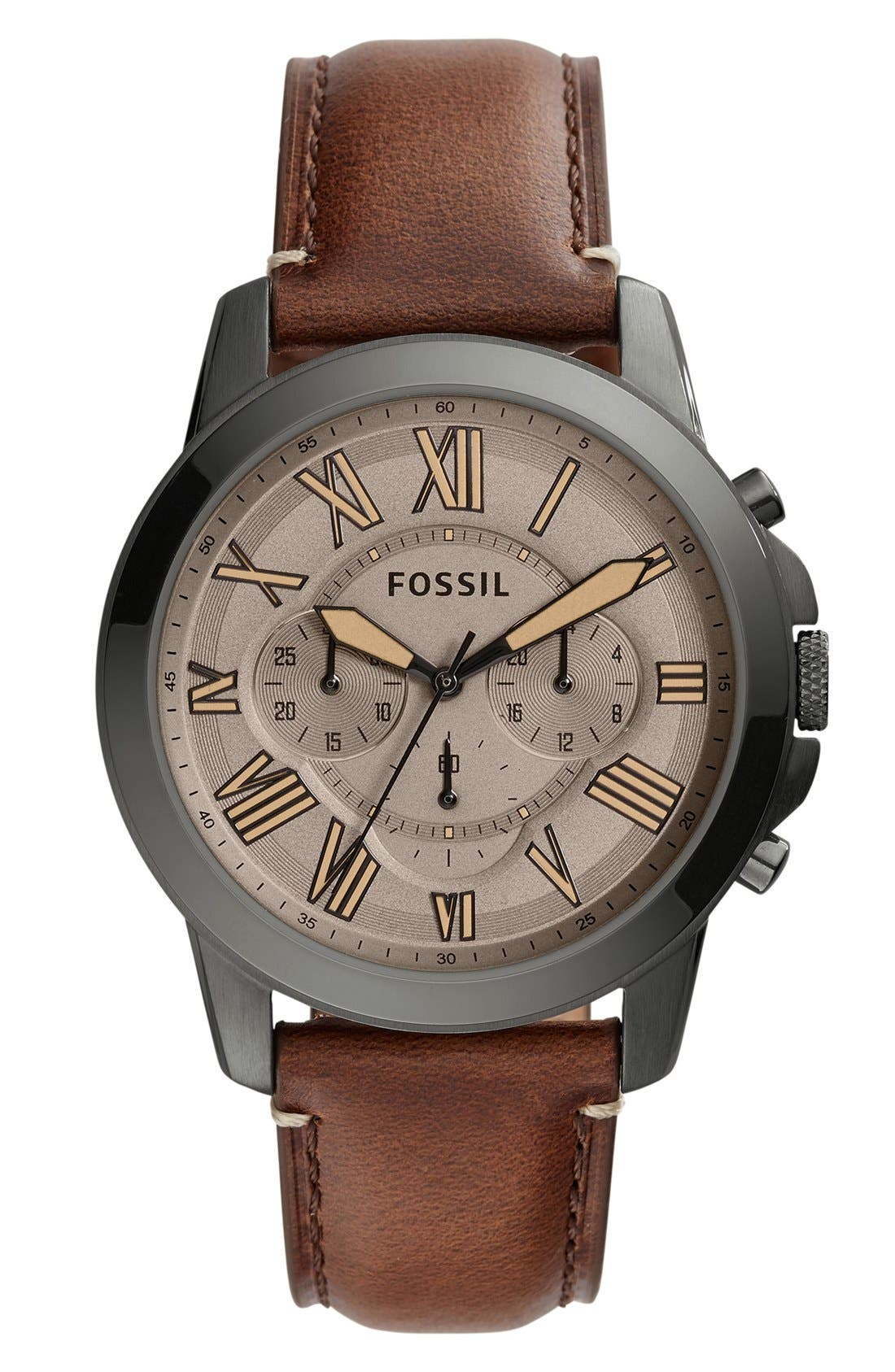 'Grant' Round Chronograph Leather Strap Watch, 44mm,                             Main thumbnail 26, color,
