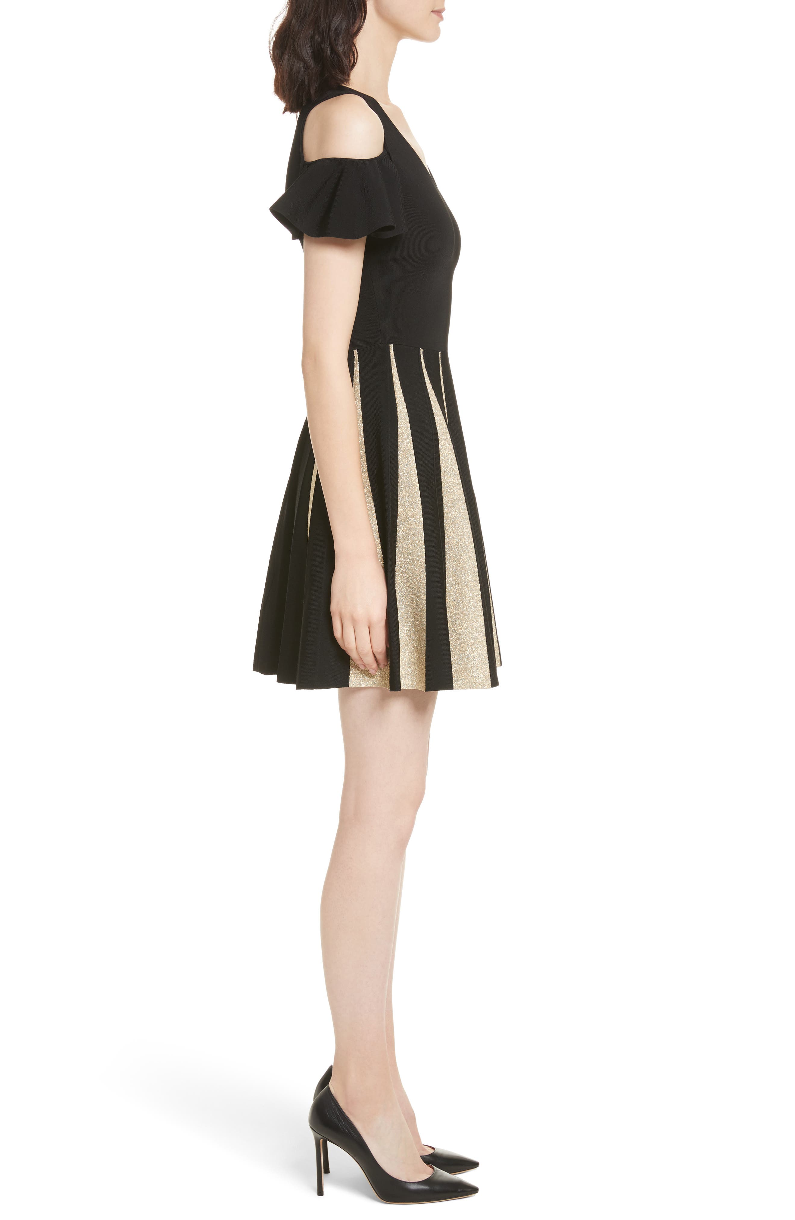 Flippy Cold Shoulder Skater Dress,                             Alternate thumbnail 3, color,