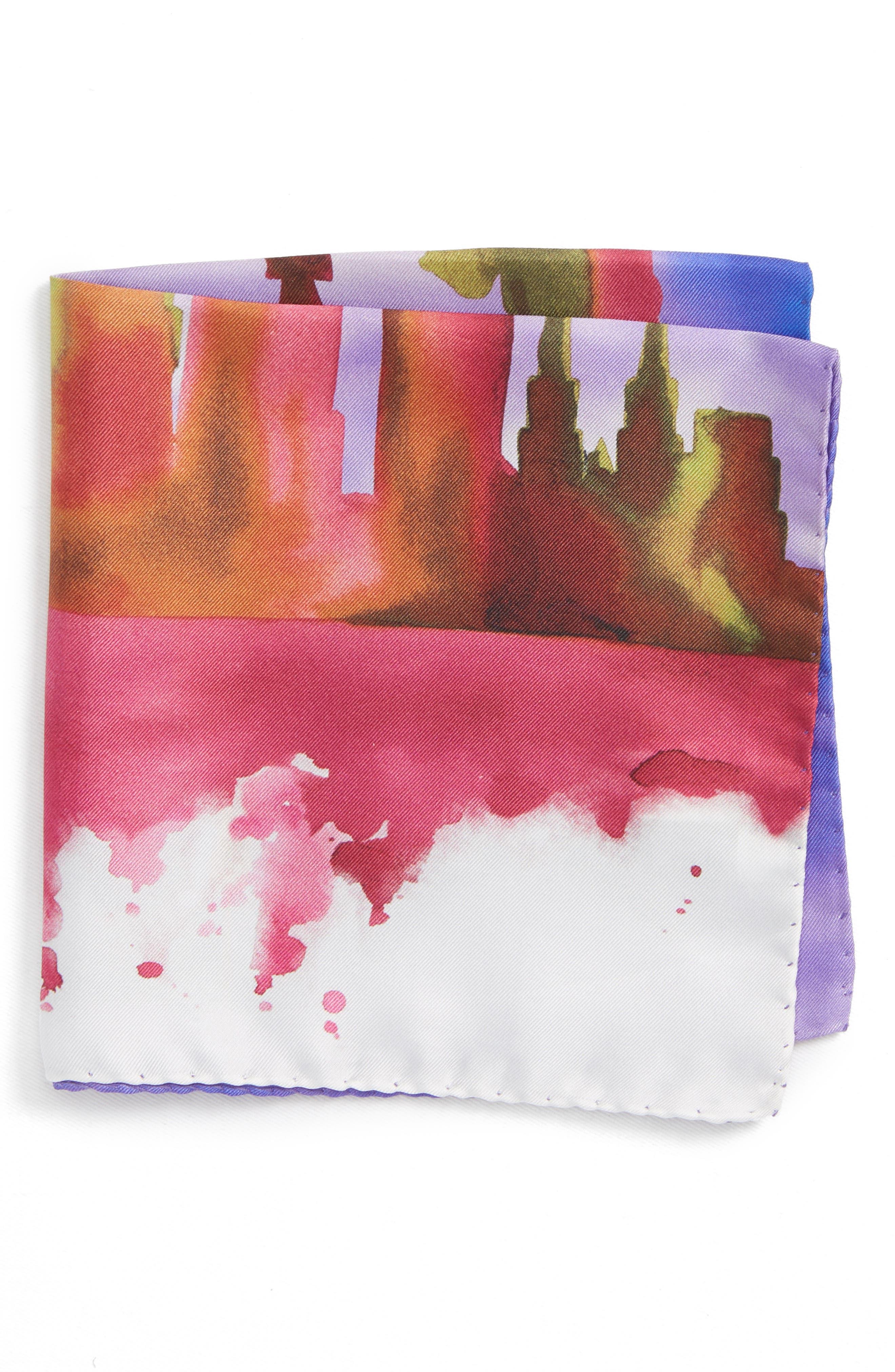 ETON New York Skyline Silk Pocket Square, Main, color, PURPLE