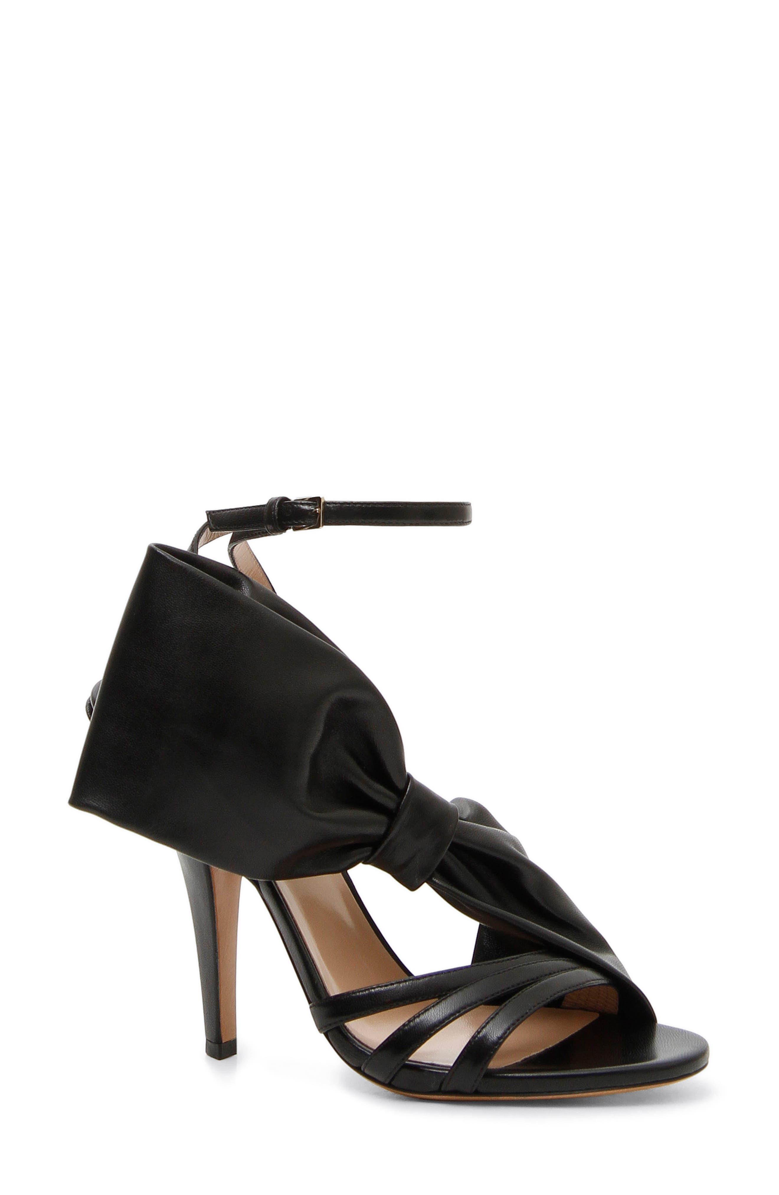 Asymmetric Bow Sandal,                             Main thumbnail 1, color,                             BLACK