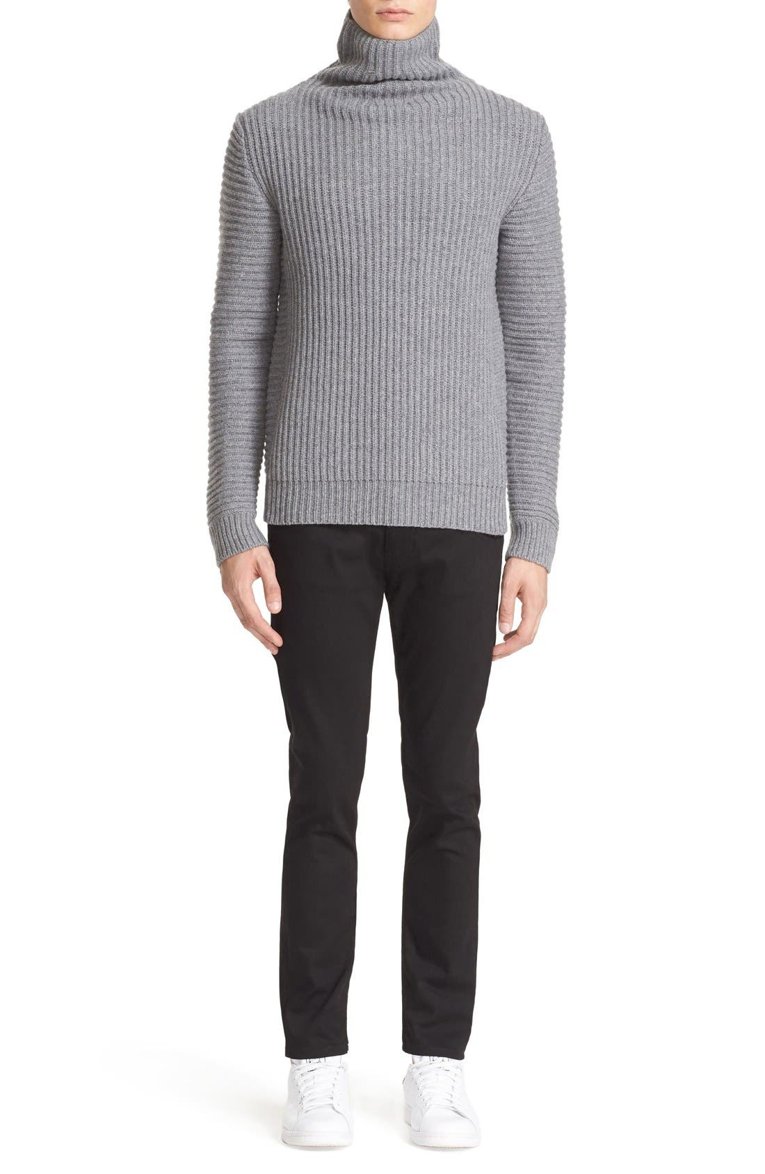 ACNE STUDIOS,                             Kalle Ribbed Turtleneck Sweater,                             Alternate thumbnail 3, color,                             020
