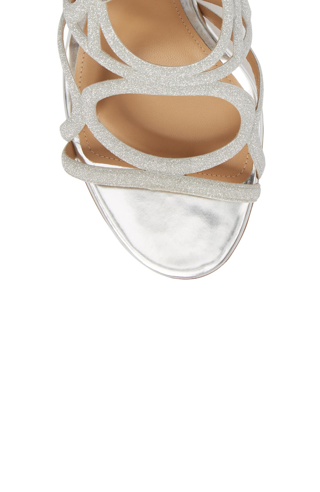 Vinci Lace-Up Block Heel Sandal,                             Alternate thumbnail 5, color,                             SILVER