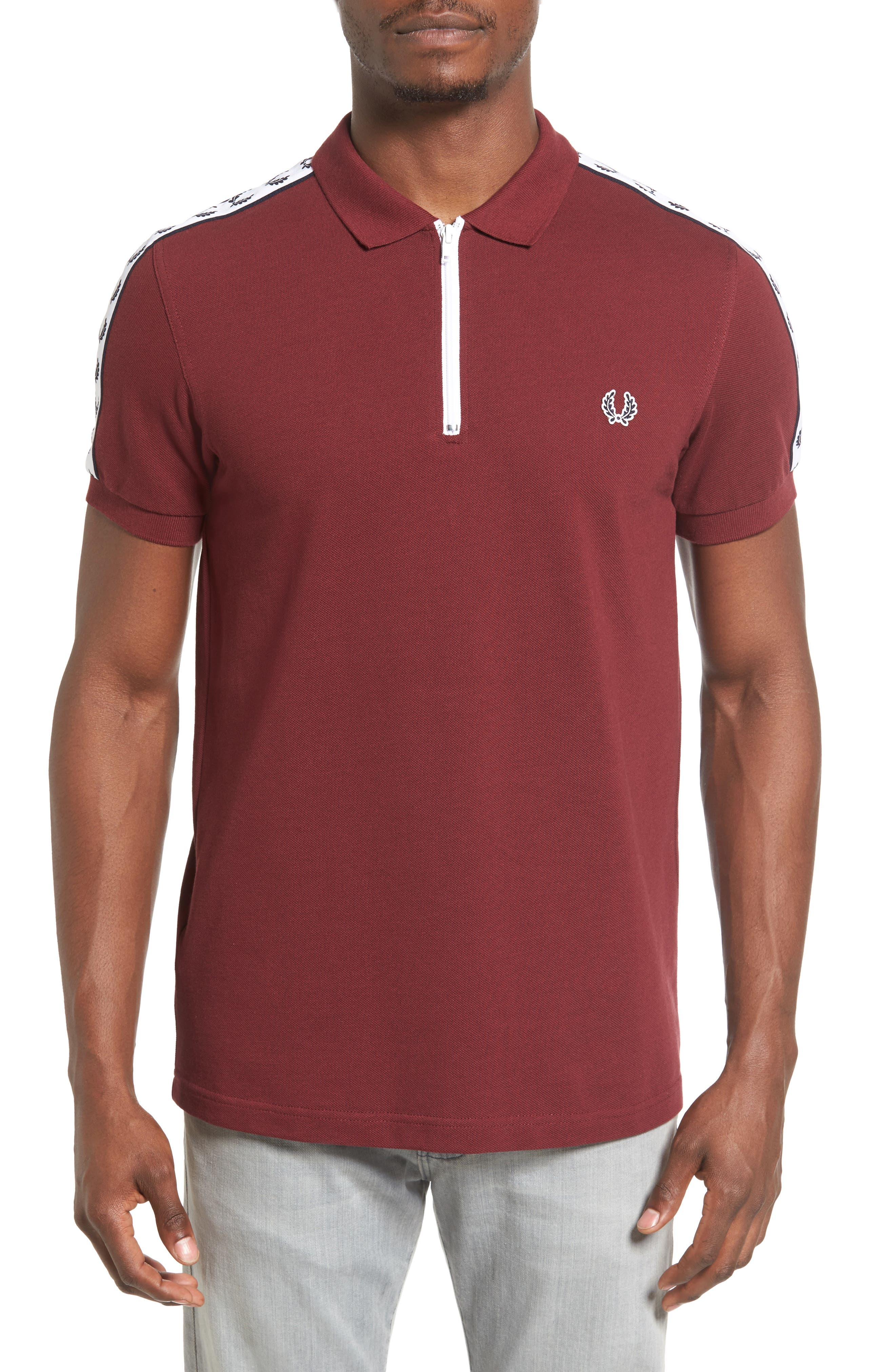 Taped Zip Polo,                         Main,                         color, 572