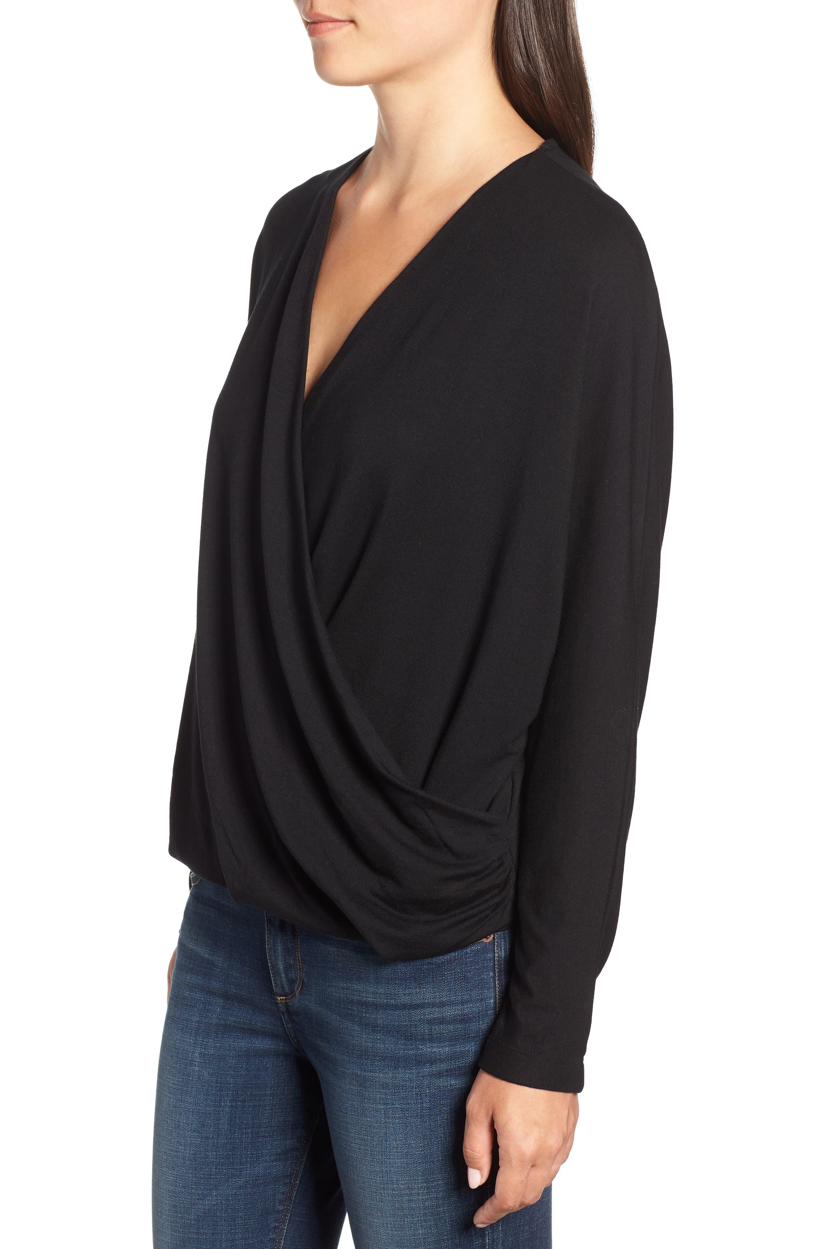 Drape Front Dolman Sleeve Top,                             Alternate thumbnail 3, color,                             BLACK