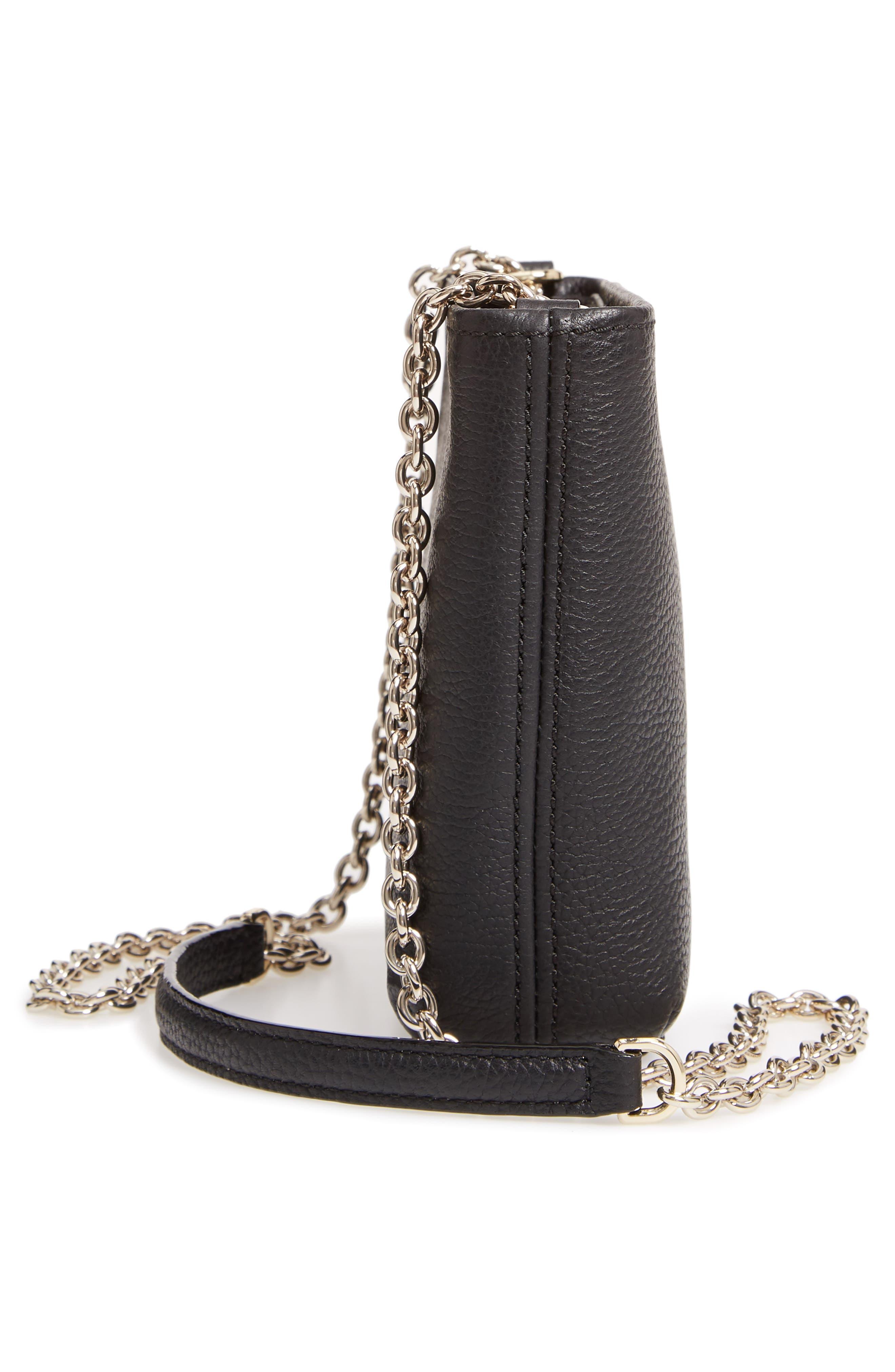 jackson street - ellery leather crossbody bag,                             Alternate thumbnail 5, color,                             BLACK