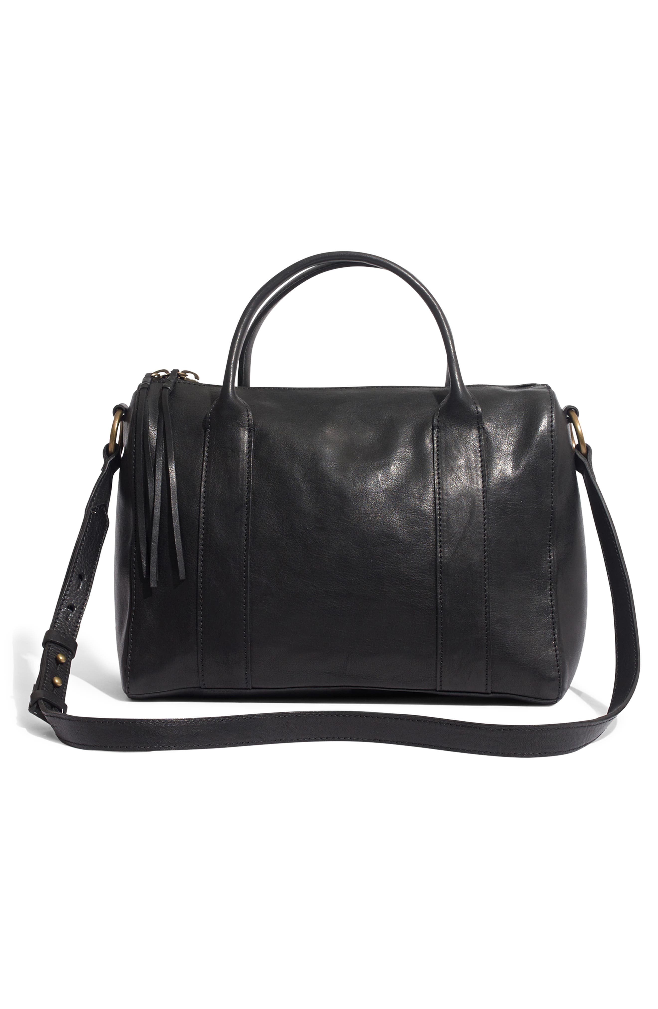 O-Ring Leather Satchel,                             Alternate thumbnail 3, color,                             001