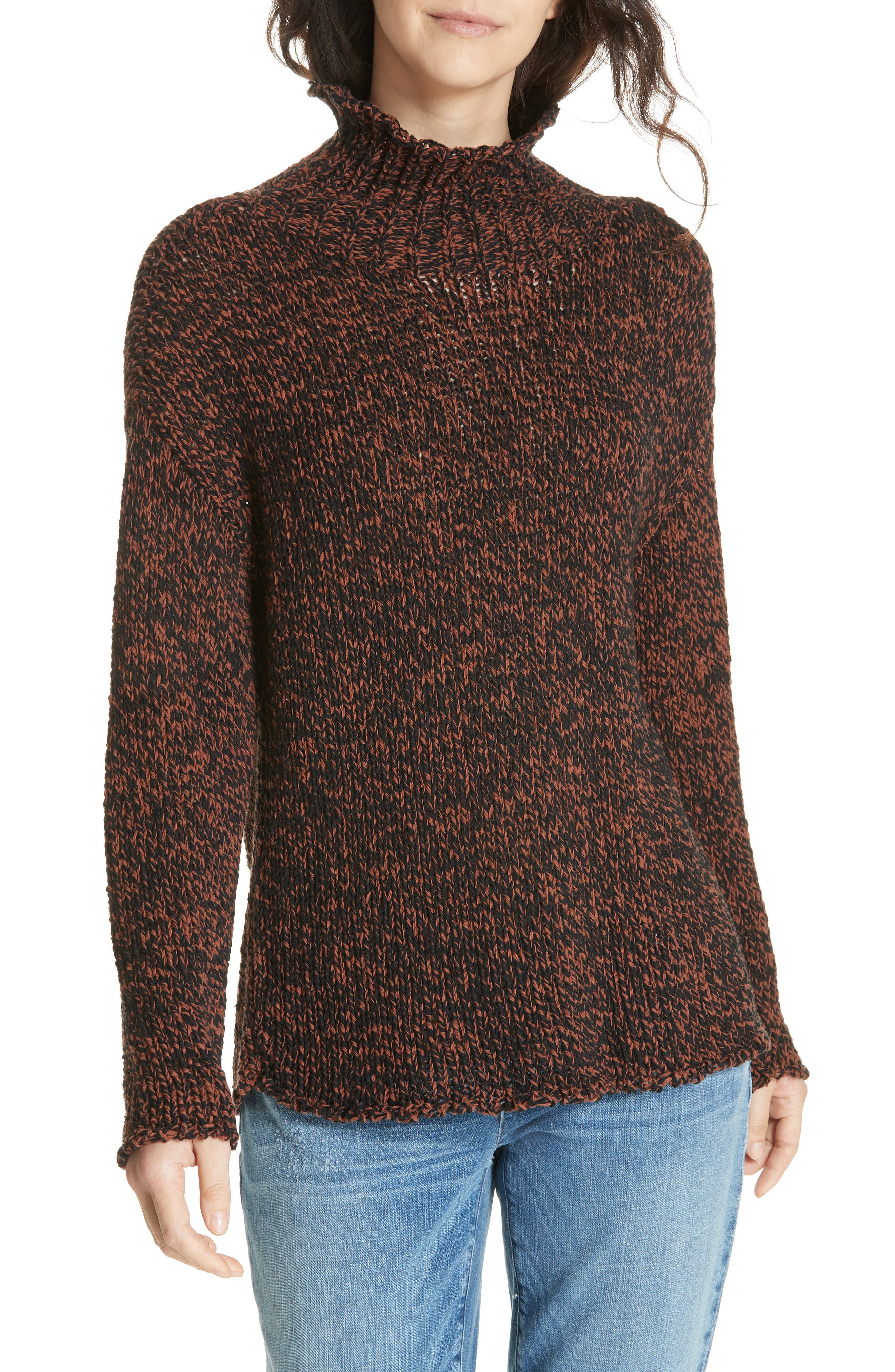 Marled Organic Cotton Blend Sweater,                             Main thumbnail 1, color,                             NUTMEG