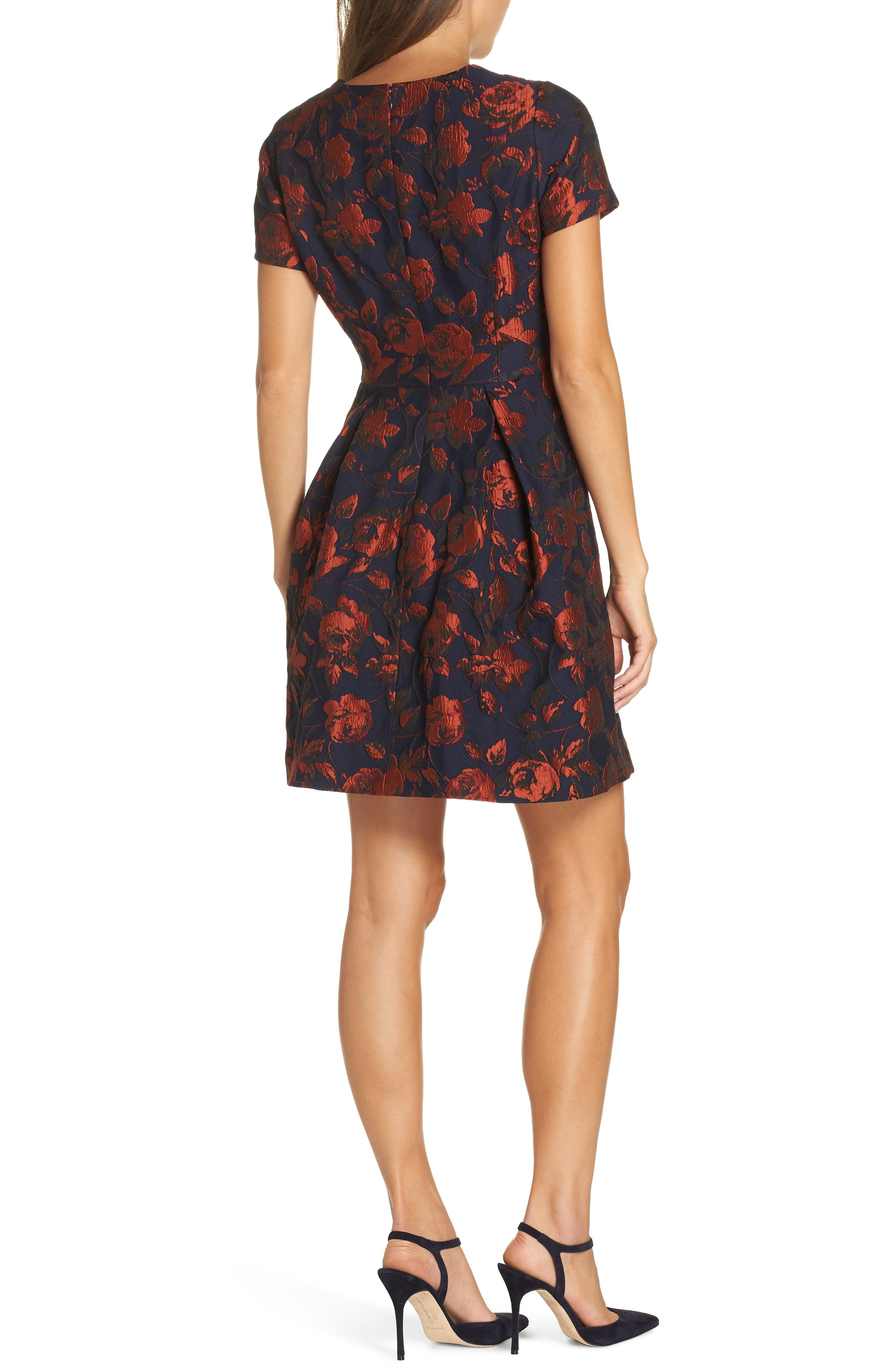 Jacquard Fit & Flare Dress,                             Alternate thumbnail 2, color,                             NAVY MULTI