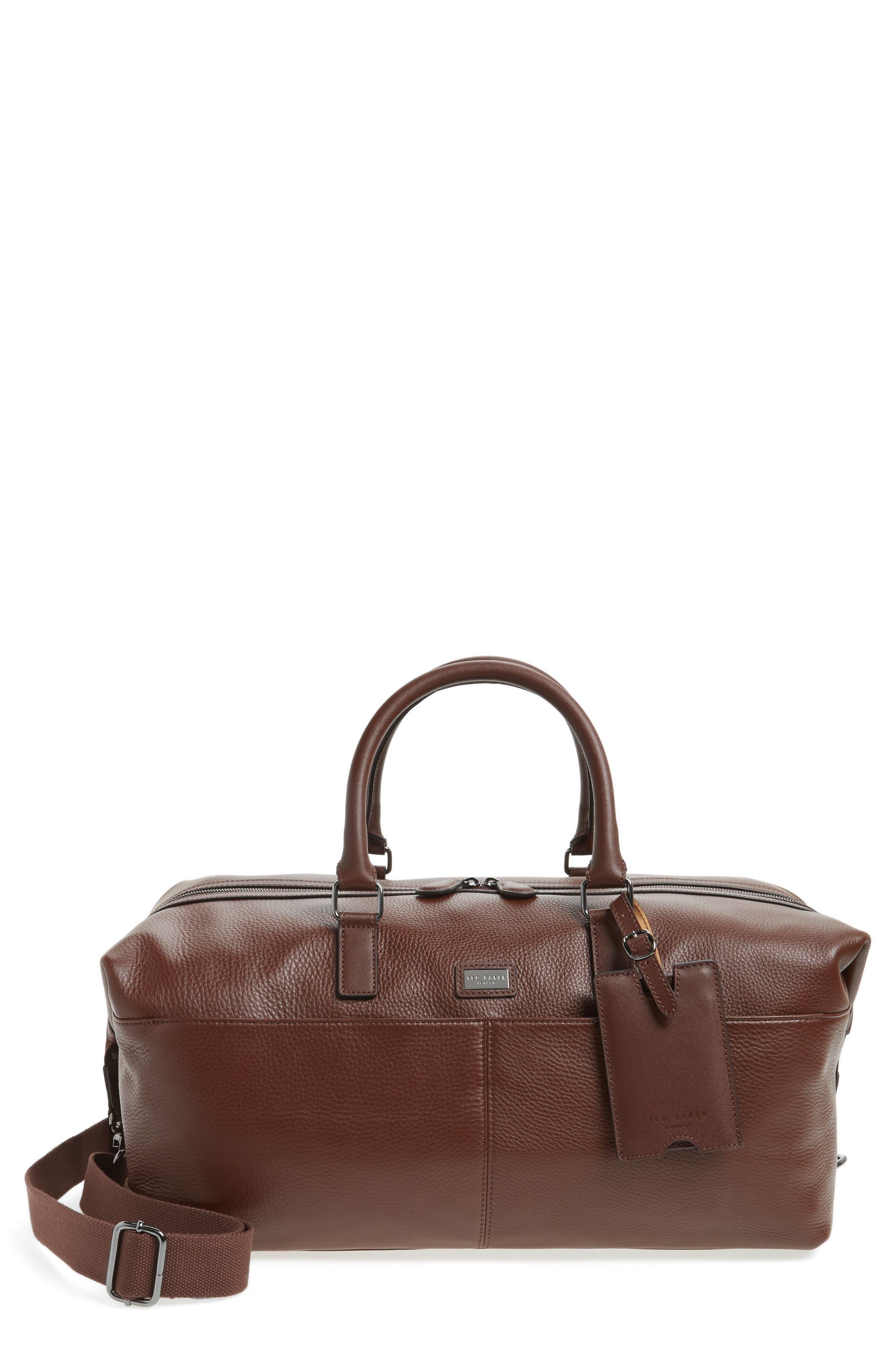 Leather Duffel Bag,                         Main,                         color, 217