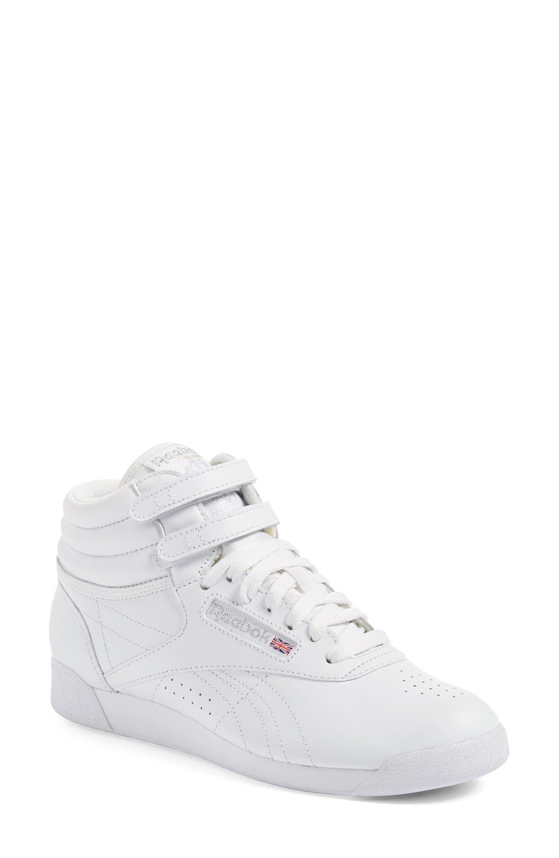 'Freestyle Hi' Sneaker,                             Main thumbnail 1, color,                             WHITE/ SILVER
