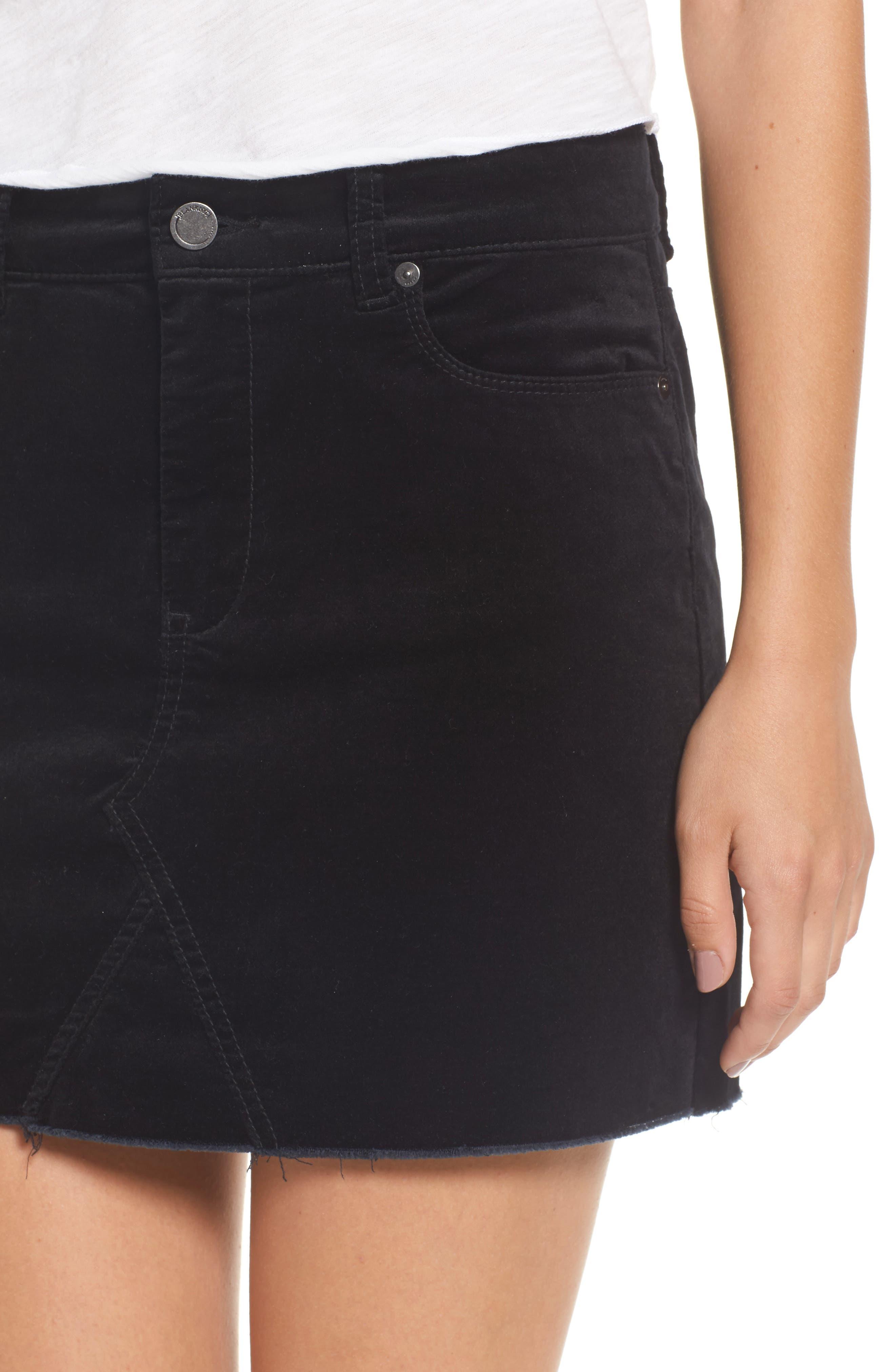 Raw Edge Miniskirt,                             Alternate thumbnail 4, color,                             001