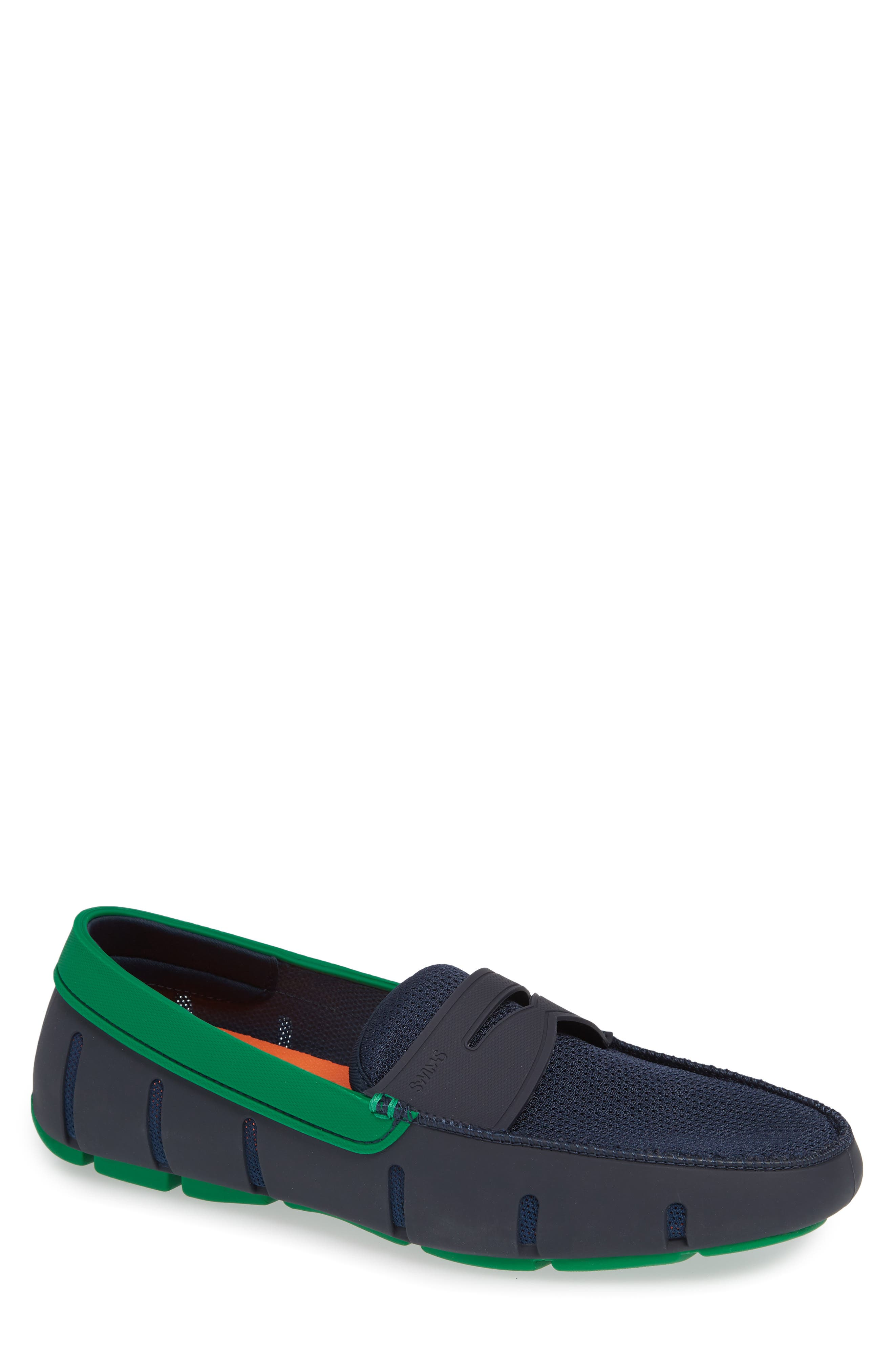 SWIMS Men'S Rubber Penny Loafer Water Shoes, Navy/Jolly Green in Navy/ Jolly Green