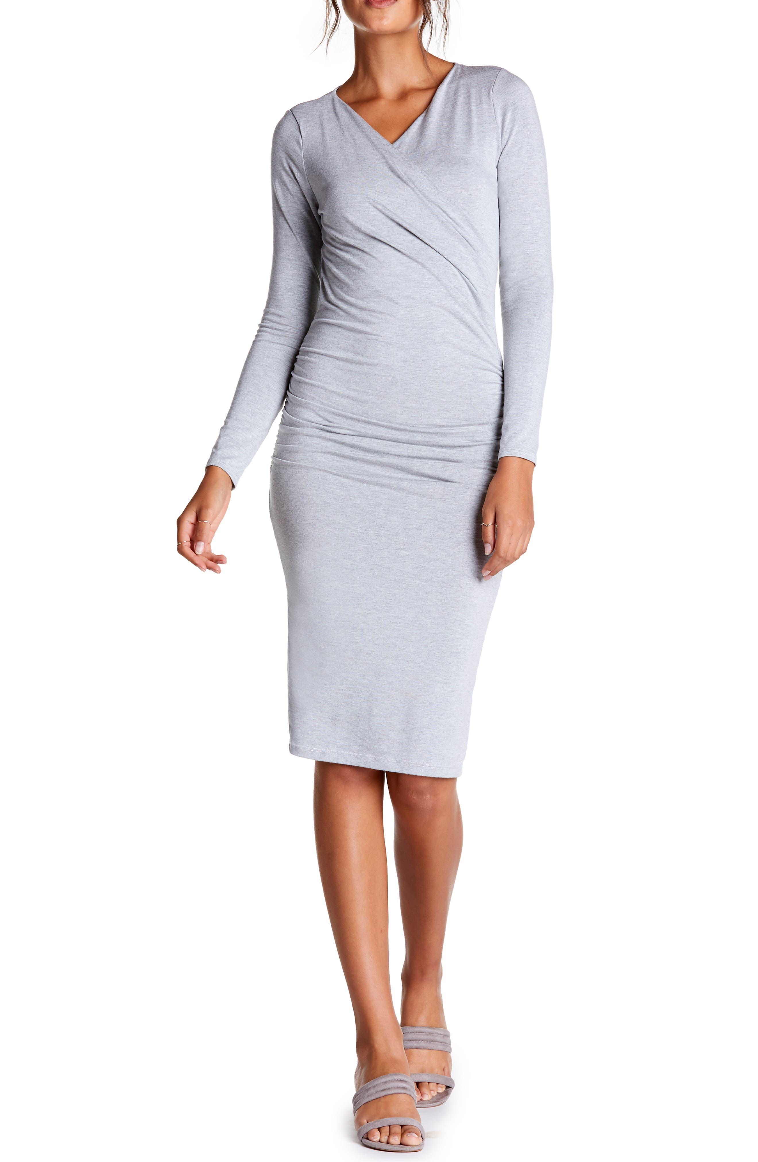 Michael Stars Mikaela Crossover Knit Dress, Grey