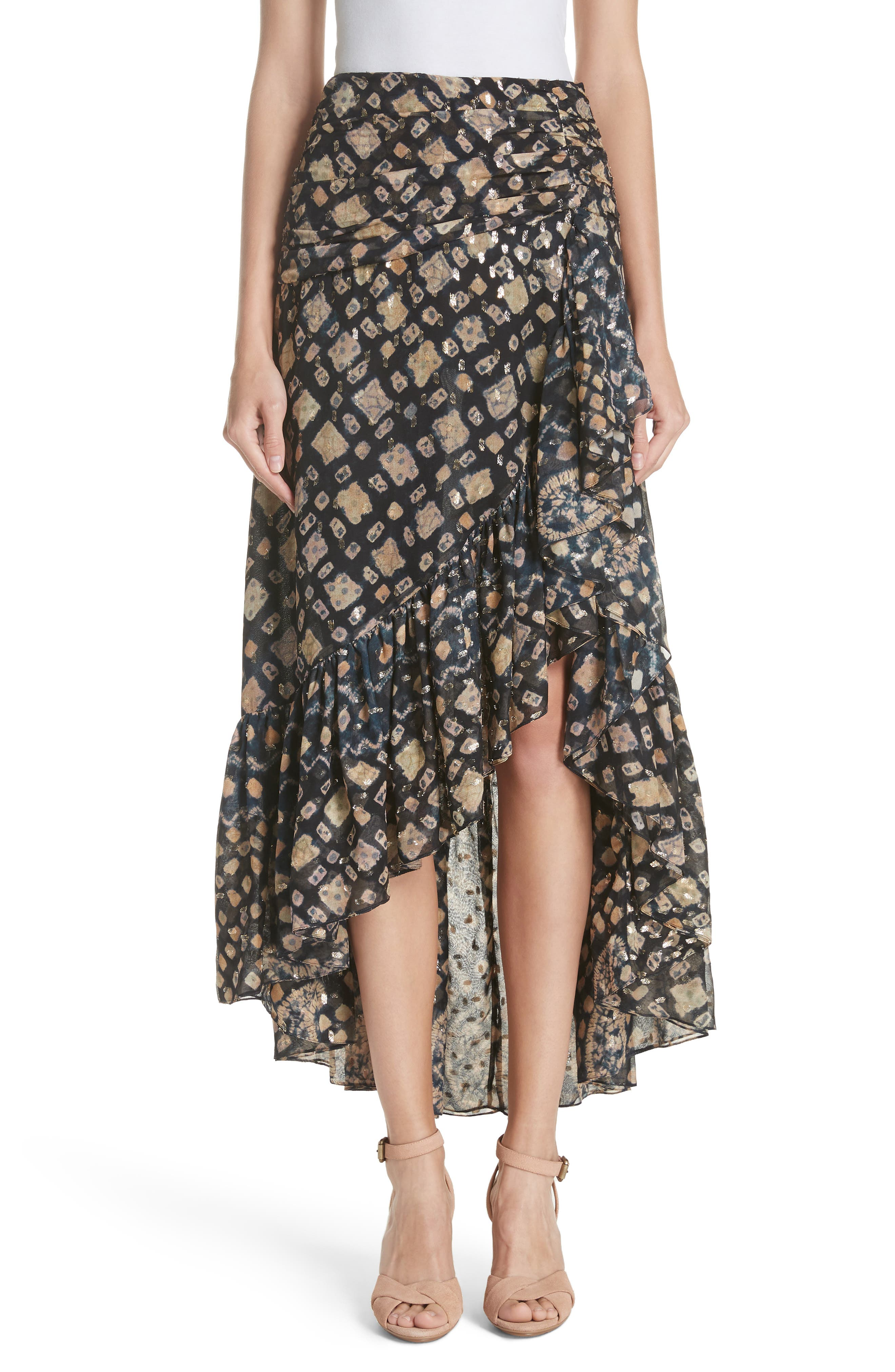 Ailie Silk Blend High/Low Skirt,                             Main thumbnail 1, color,                             MIDNIGHT