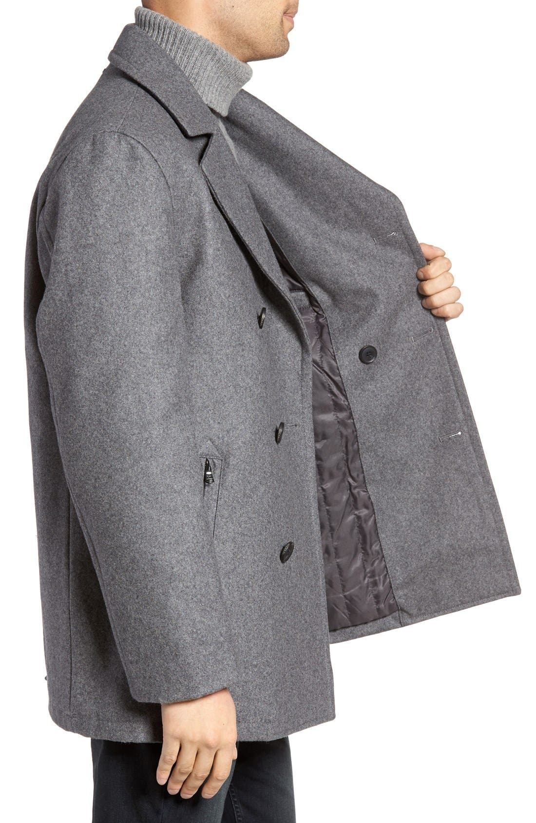 Wool Blend Double Breasted Peacoat,                             Alternate thumbnail 125, color,