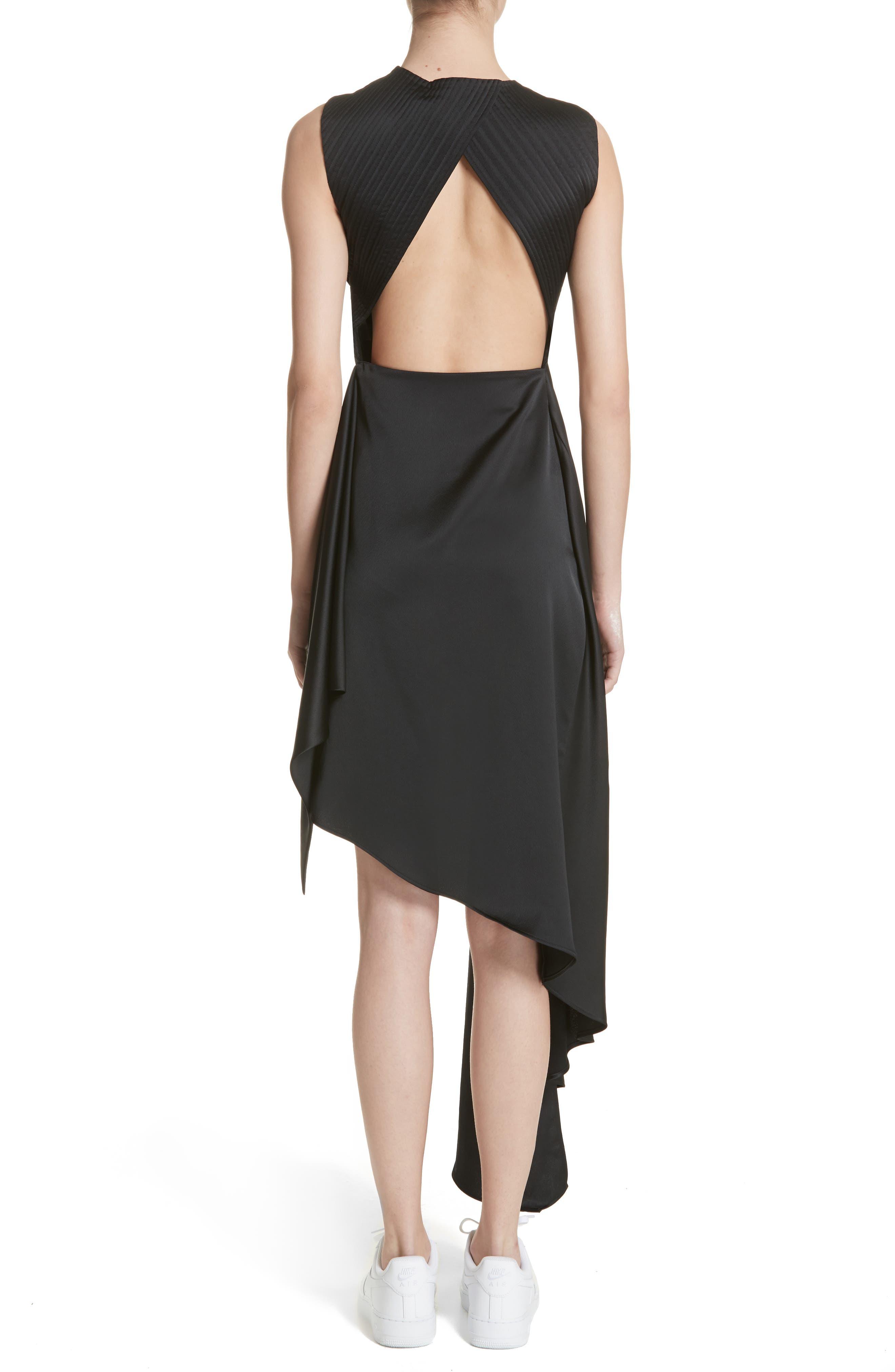Asymmetric Satin Dress,                             Alternate thumbnail 2, color,                             001