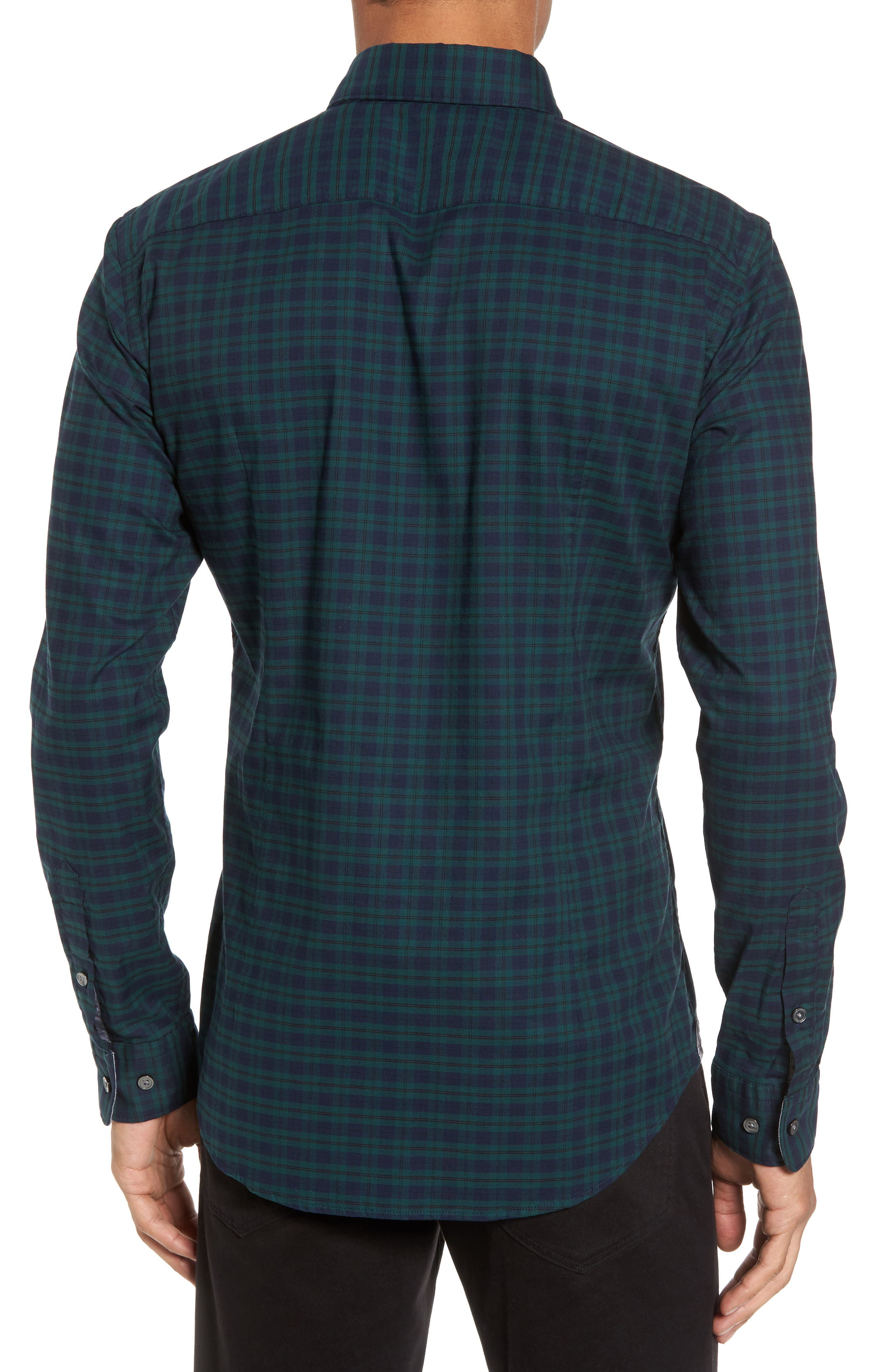 Rod Trim Fit Check Oxford Sport Shirt,                             Alternate thumbnail 4, color,